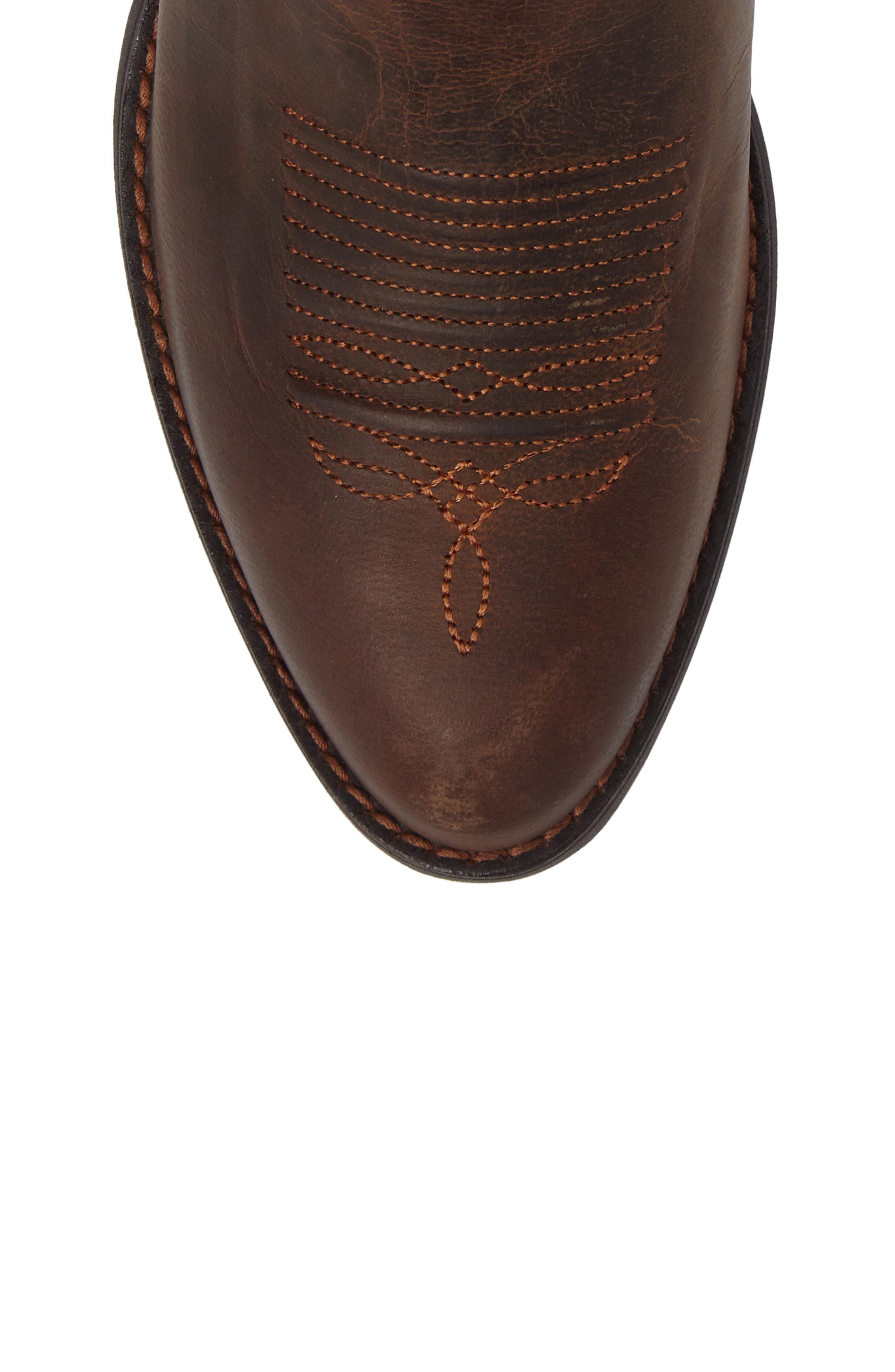 Round Up R-Toe Western Boot,                             Alternate thumbnail 5, color,                             DARK TOFFEE LEATHER