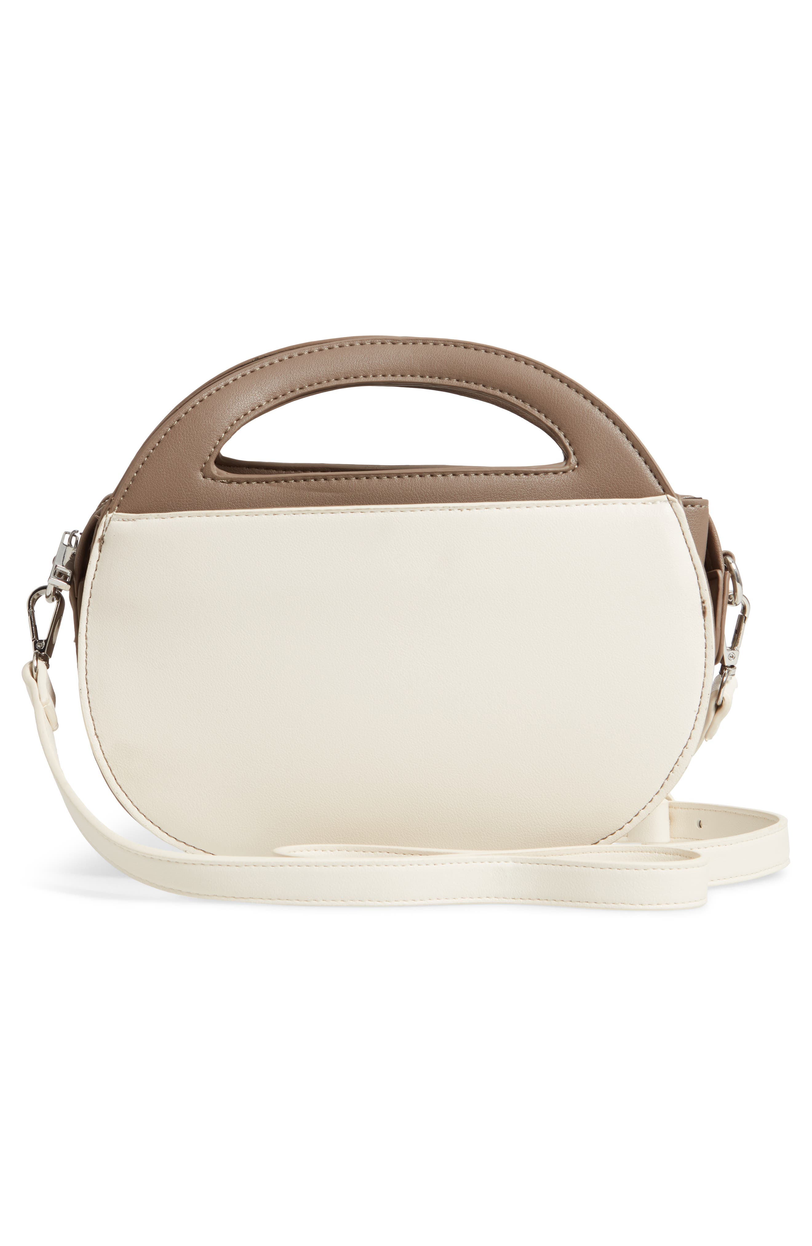 Two-Tone Faux Leather Oval Crossbody Bag,                             Alternate thumbnail 3, color,                             TAUPE/ COGNAC