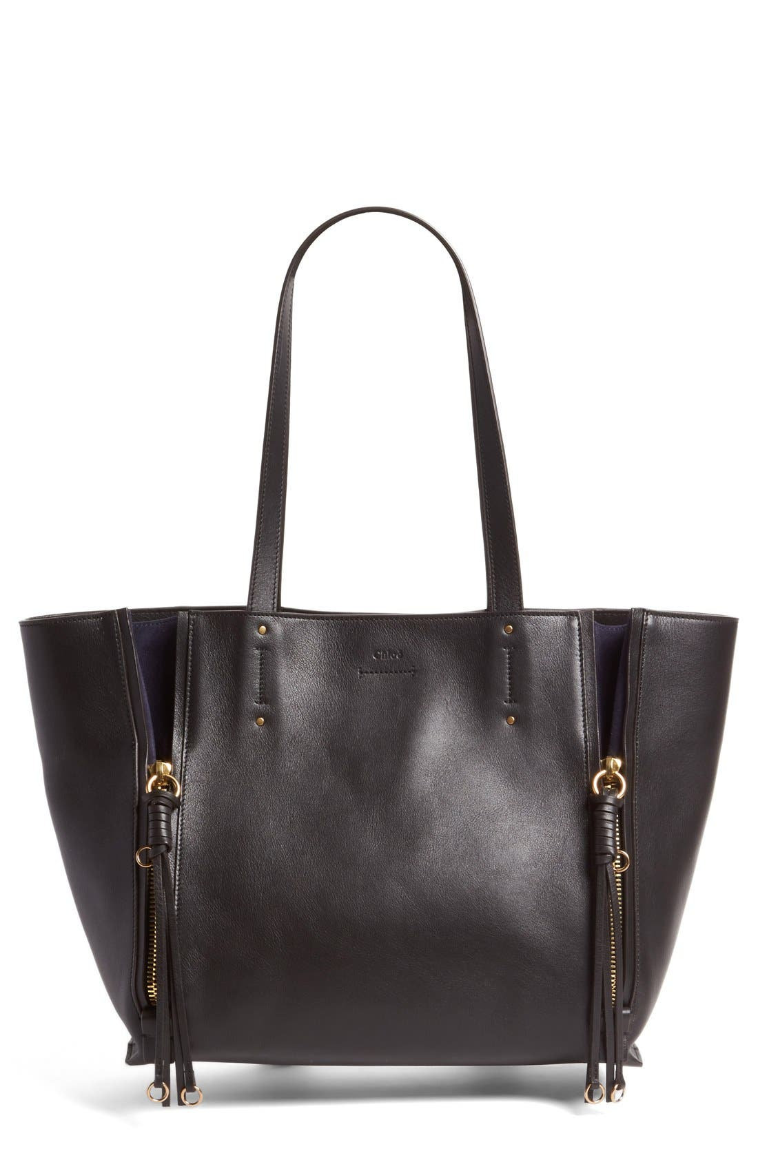 Medium Milo Calfskin Leather Tote,                             Main thumbnail 1, color,                             BLACK