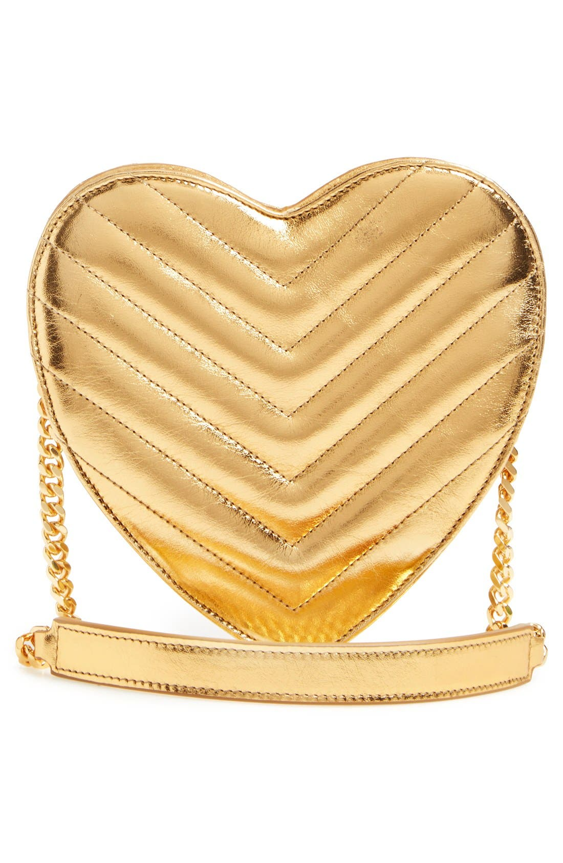 SAINT LAURENT,                             'Small Heart' Quilted Leather Crossbody Bag,                             Alternate thumbnail 5, color,                             717