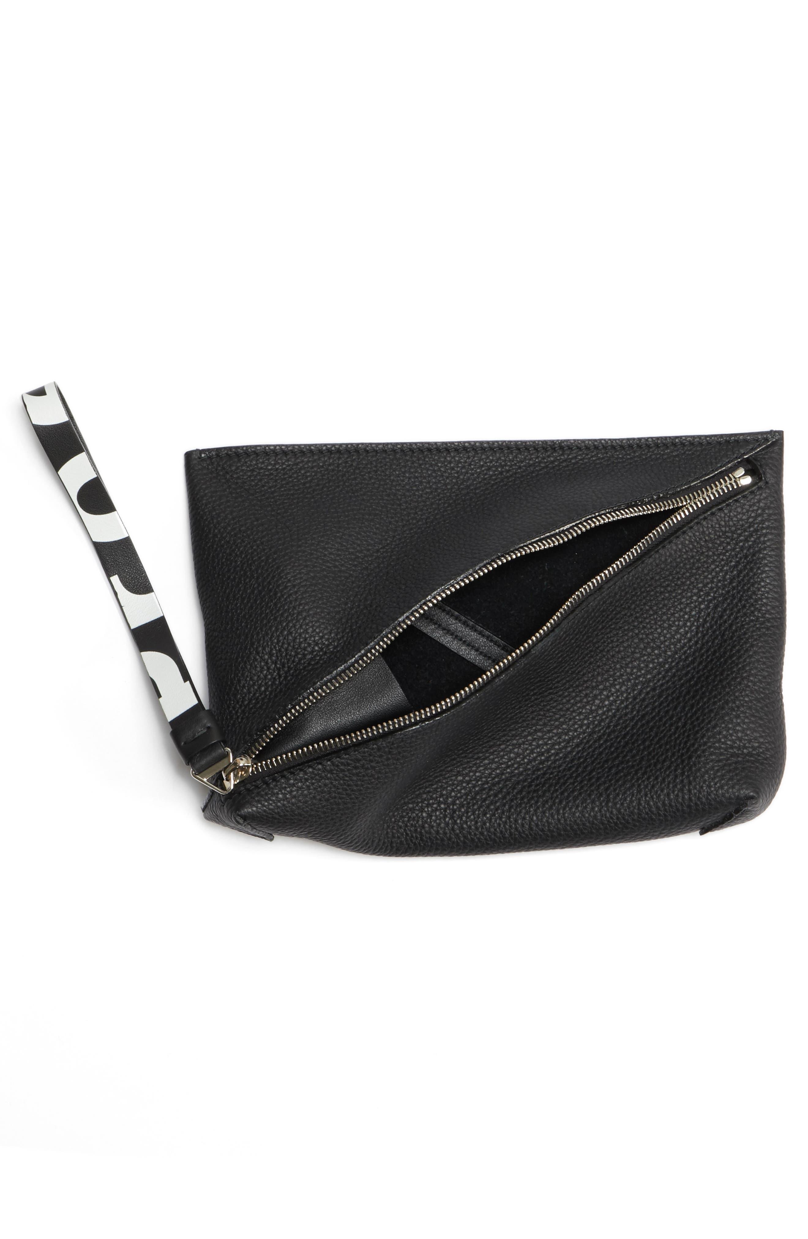 Diagonal Zip Leather Pouch,                             Alternate thumbnail 4, color,                             001