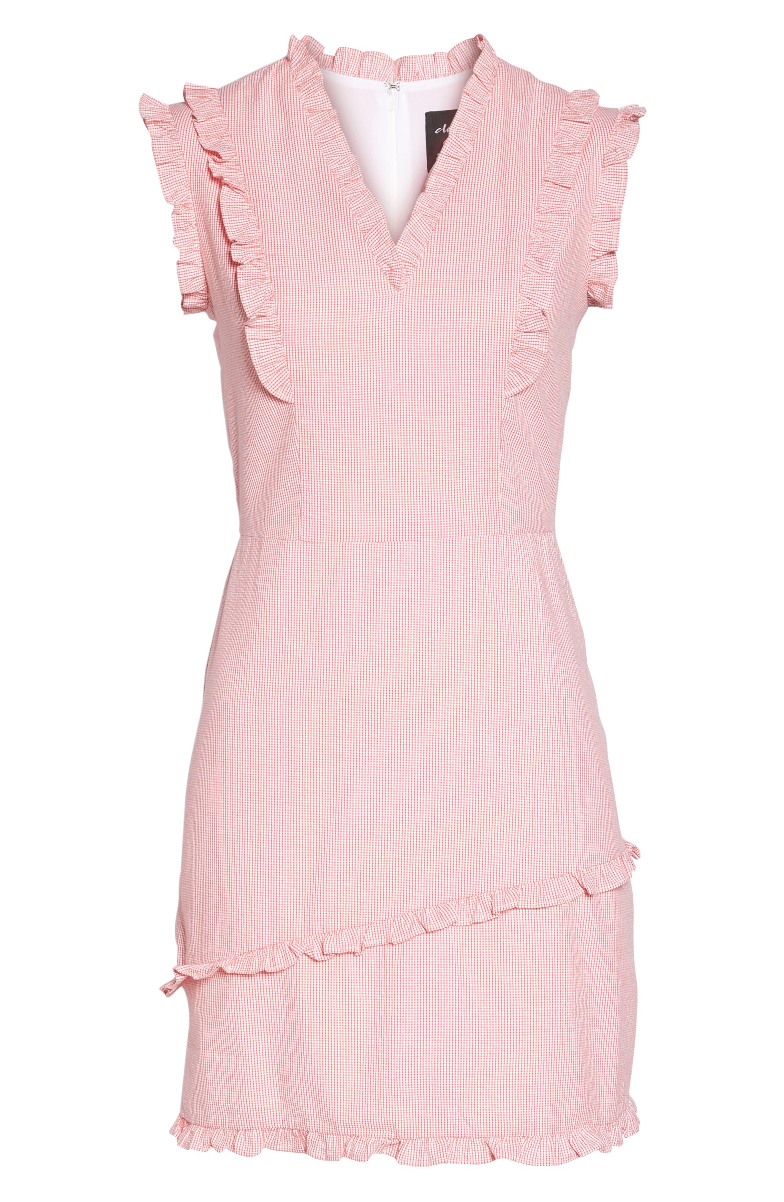 Ruffle V-Neck Sheath Dress,                             Alternate thumbnail 7, color,