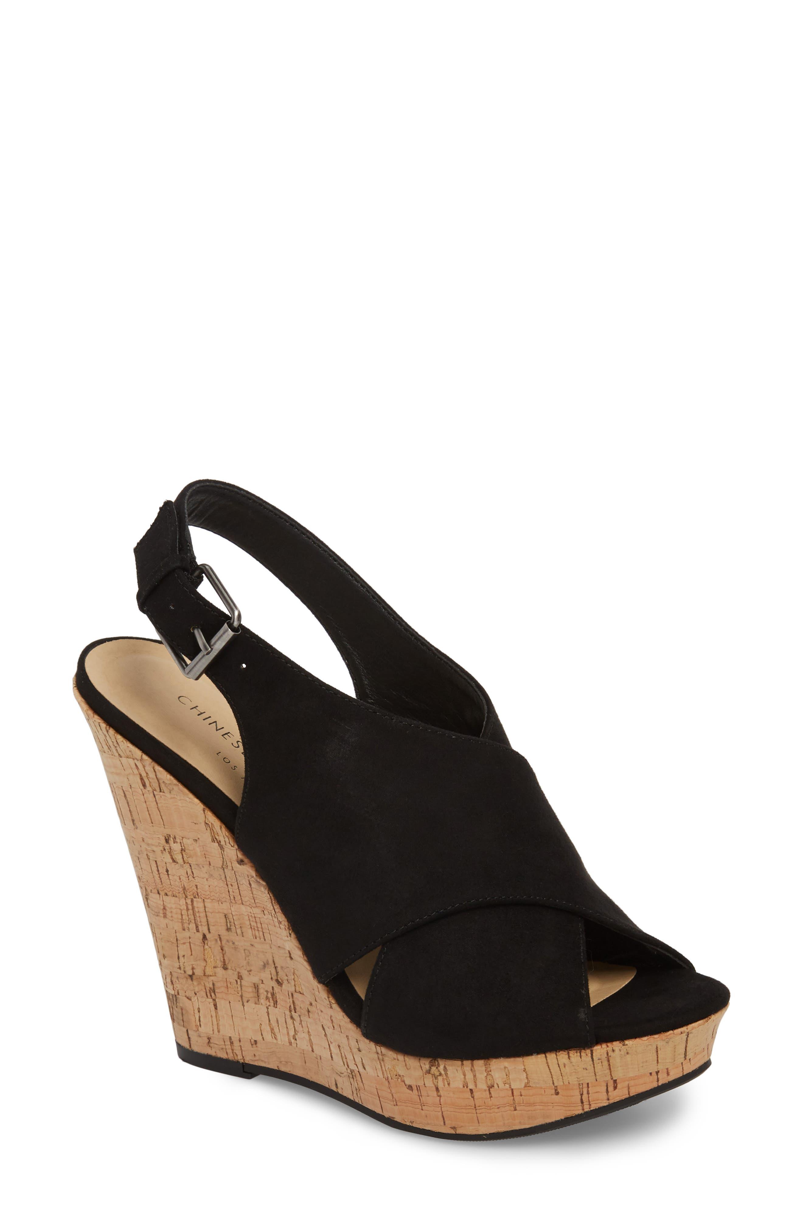 Myya Slingback Wedge Sandal,                             Main thumbnail 1, color,                             BLACK