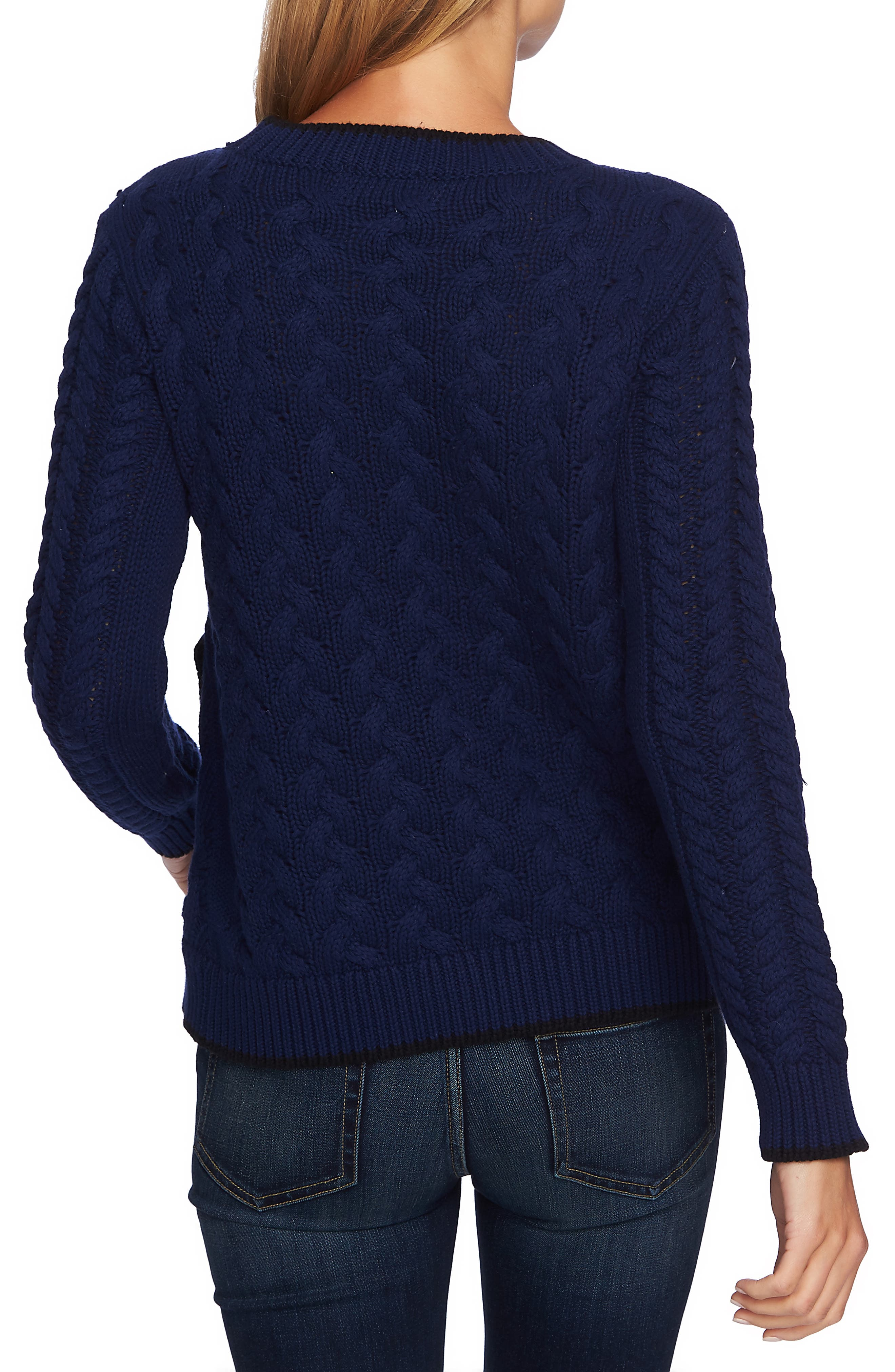 Cable Knit Overlay Cotton Sweater,                             Alternate thumbnail 2, color,                             MIDNIGHT BLOOM