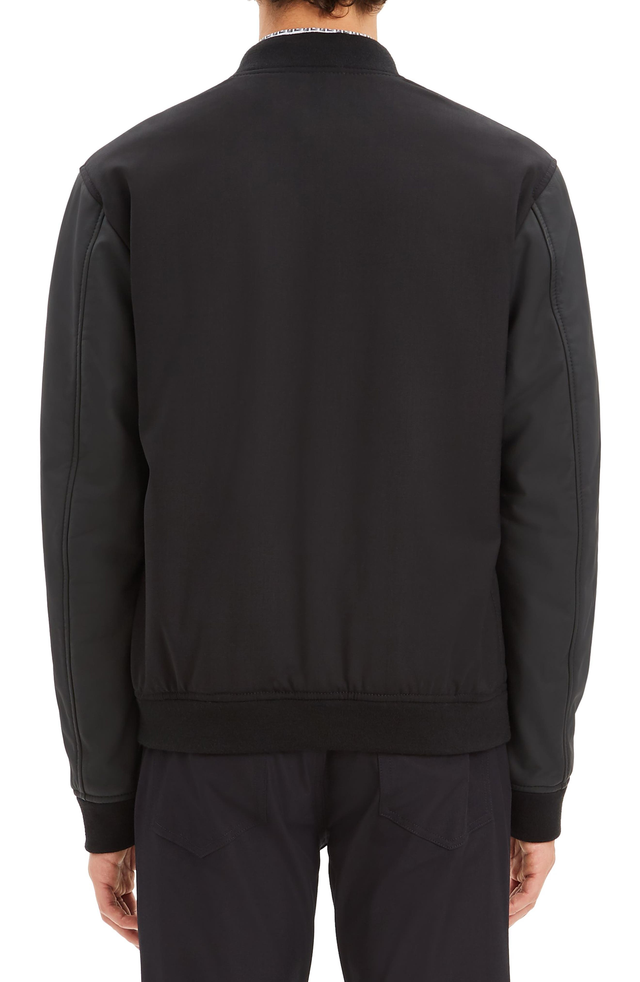 Stretch Wool Bomber Jacket,                             Alternate thumbnail 2, color,                             BLACK