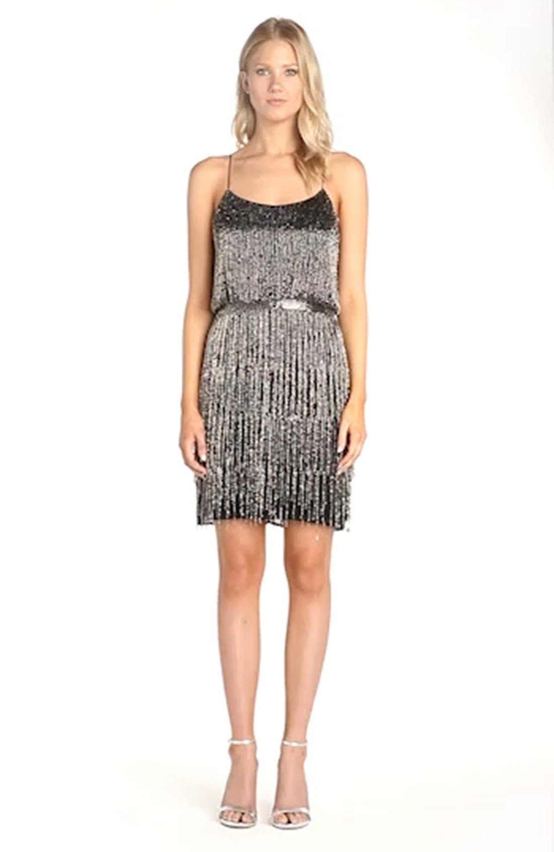 Beaded Fringe Blouson Dress,                             Alternate thumbnail 8, color,                             017