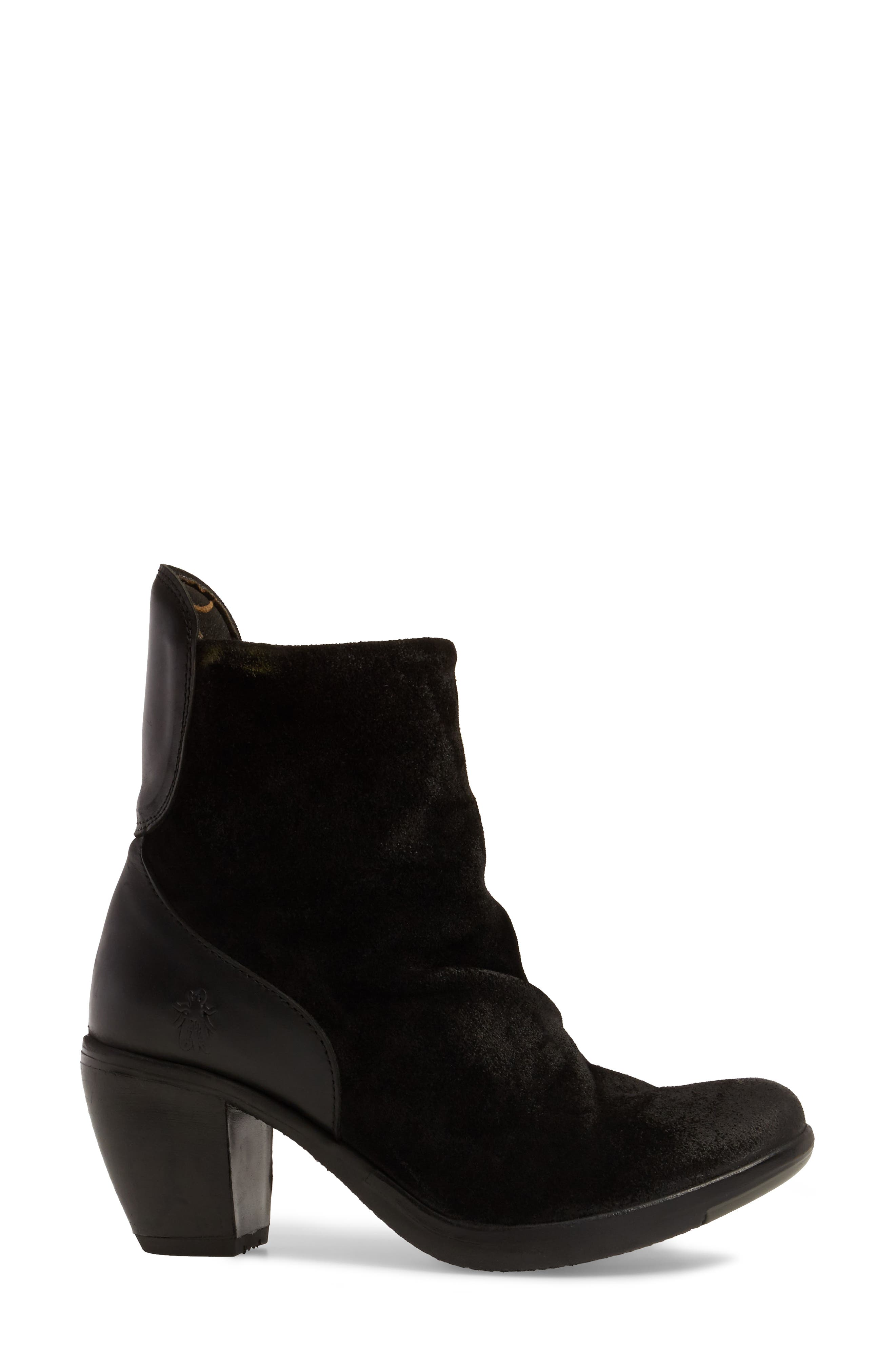 Hota Slouch Bootie,                             Alternate thumbnail 3, color,                             BLACK LEATHER