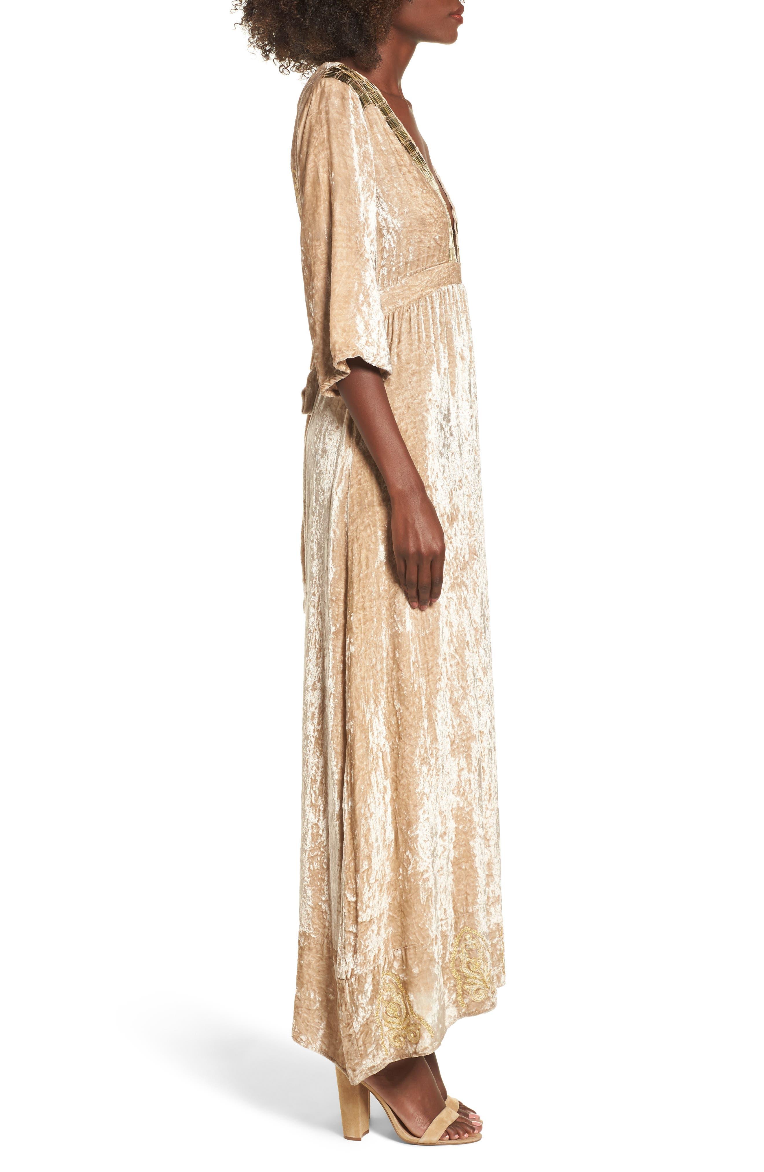 Romantic Visions Velvet Maxi Dress,                             Alternate thumbnail 3, color,