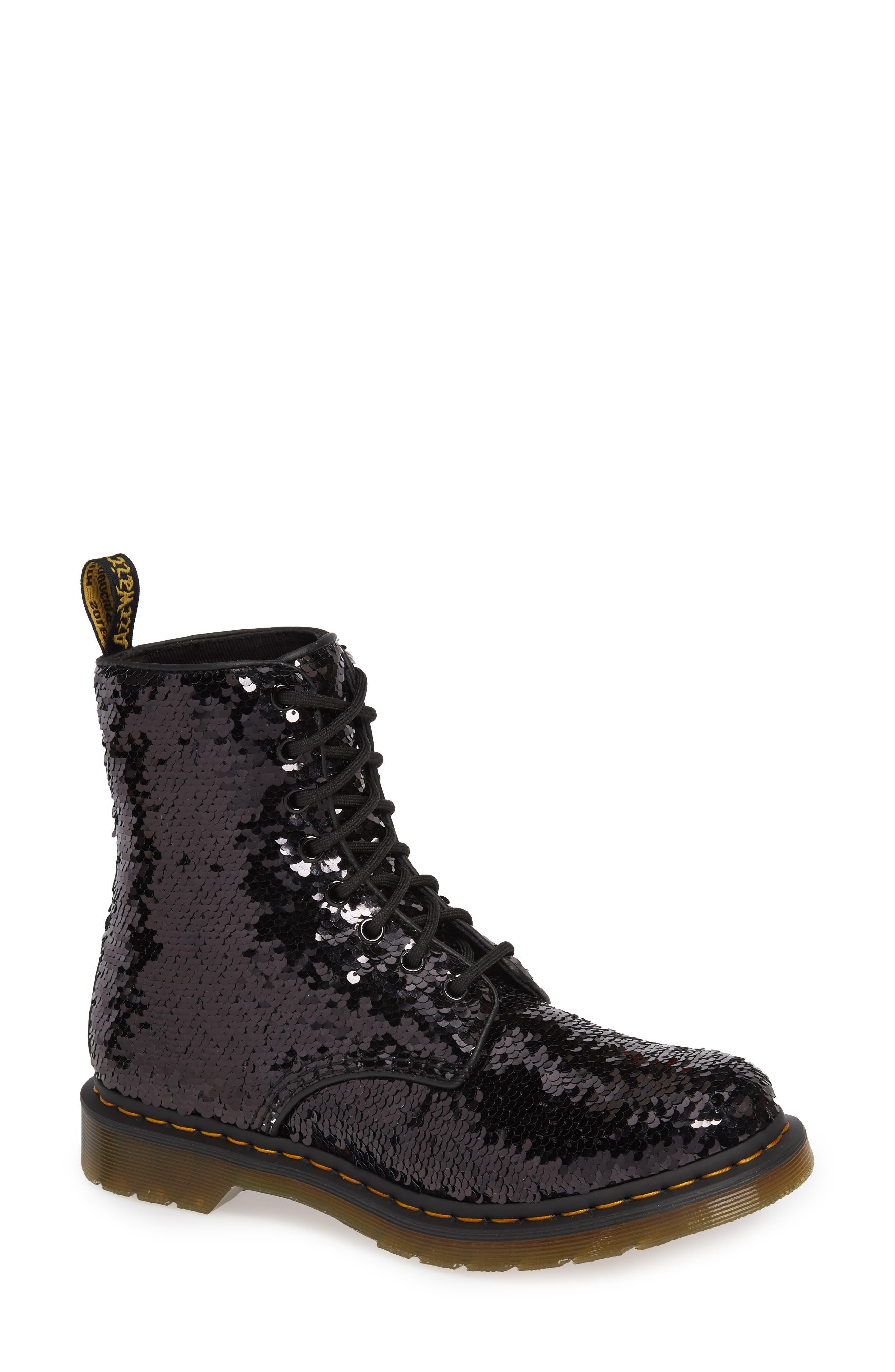 Dr. Martens 1460 Pascal Flip Sequin Boot, Black