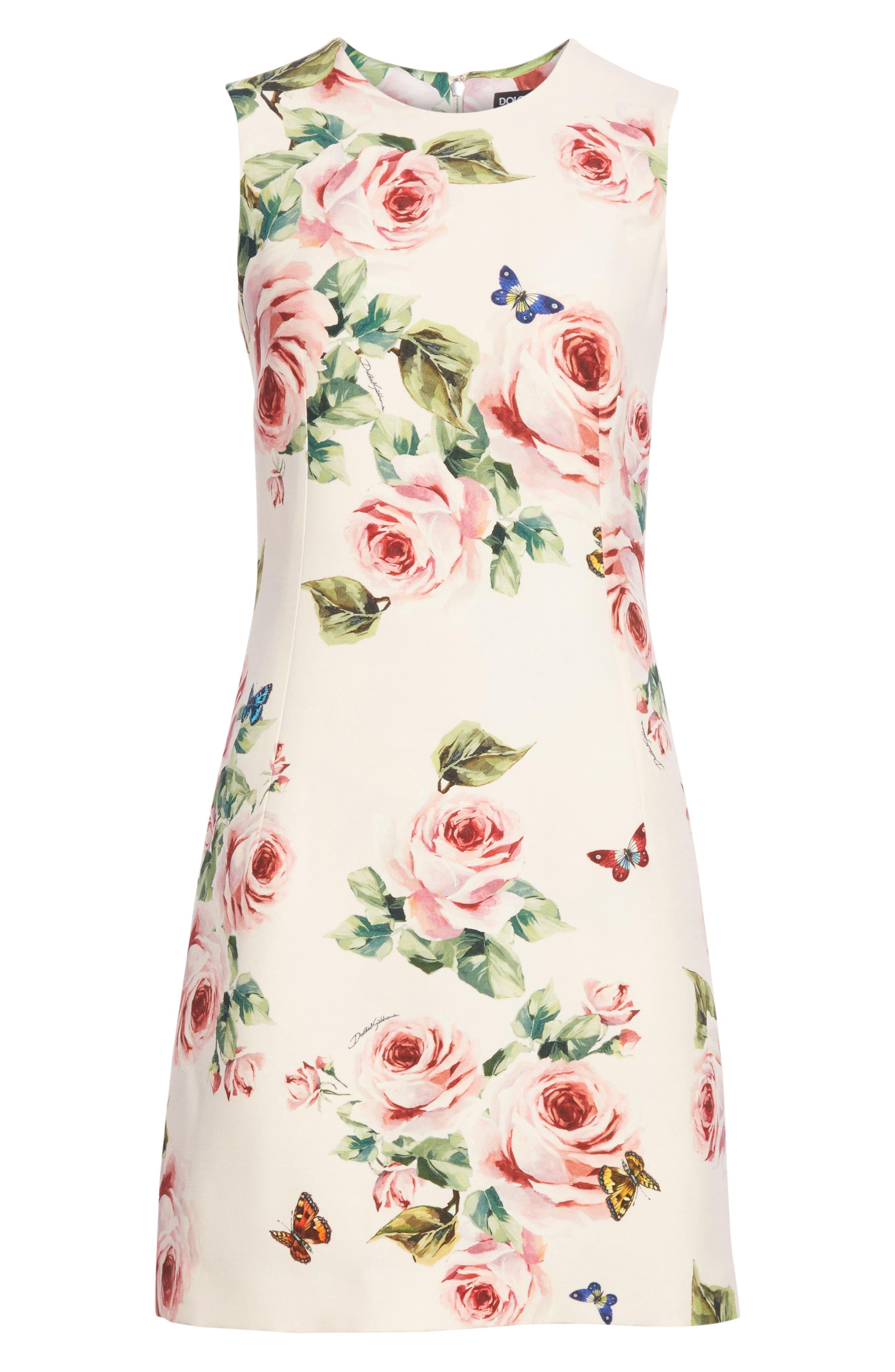 Rose Print Wool & Silk Shift Dress,                             Alternate thumbnail 6, color,                             680
