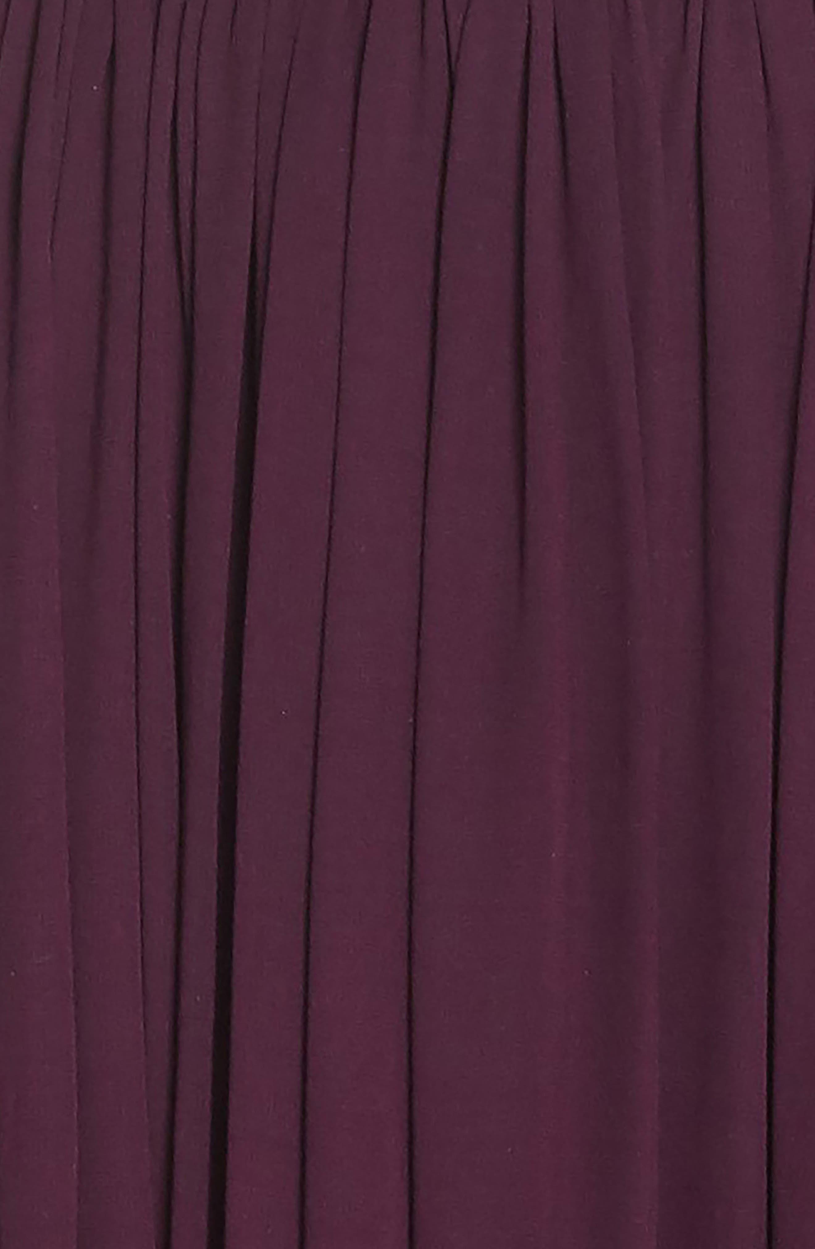 Alicia Mixed Media Midi Dress,                             Alternate thumbnail 4, color,                             PLUM