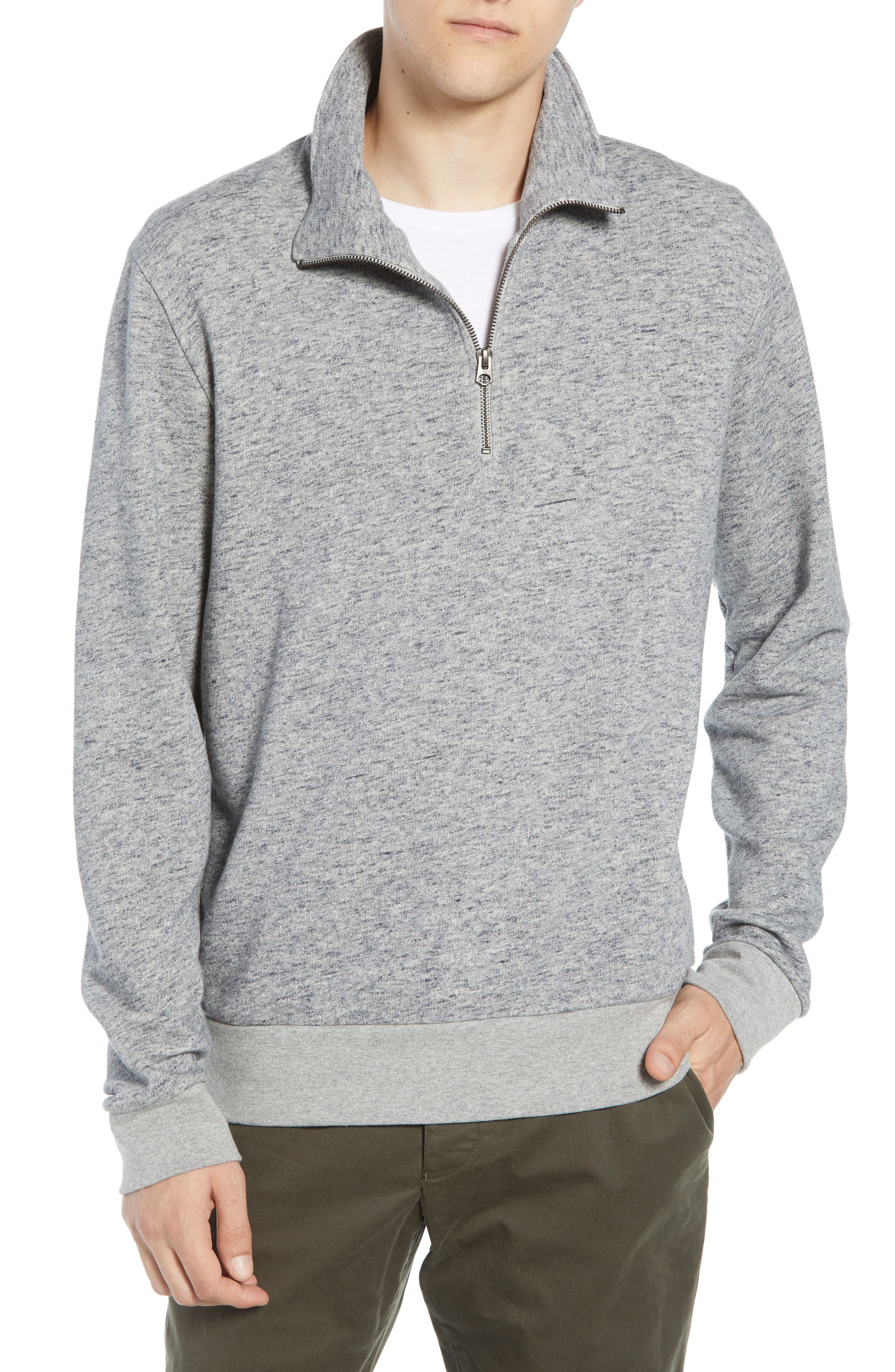 Winning Quarter Zip Regular Fit Sweatshirt,                             Main thumbnail 1, color,                             GREY MOULINE
