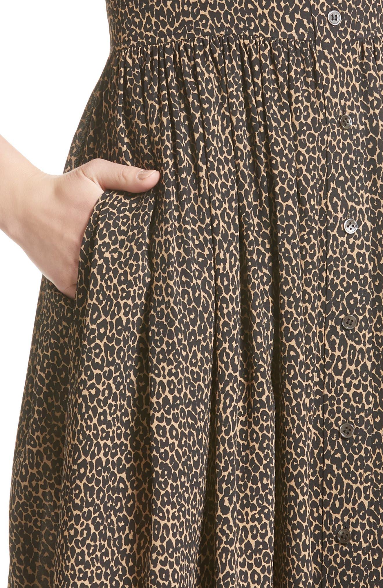 Leopard Print Silk Georgette Shirtdress,                             Alternate thumbnail 4, color,                             200