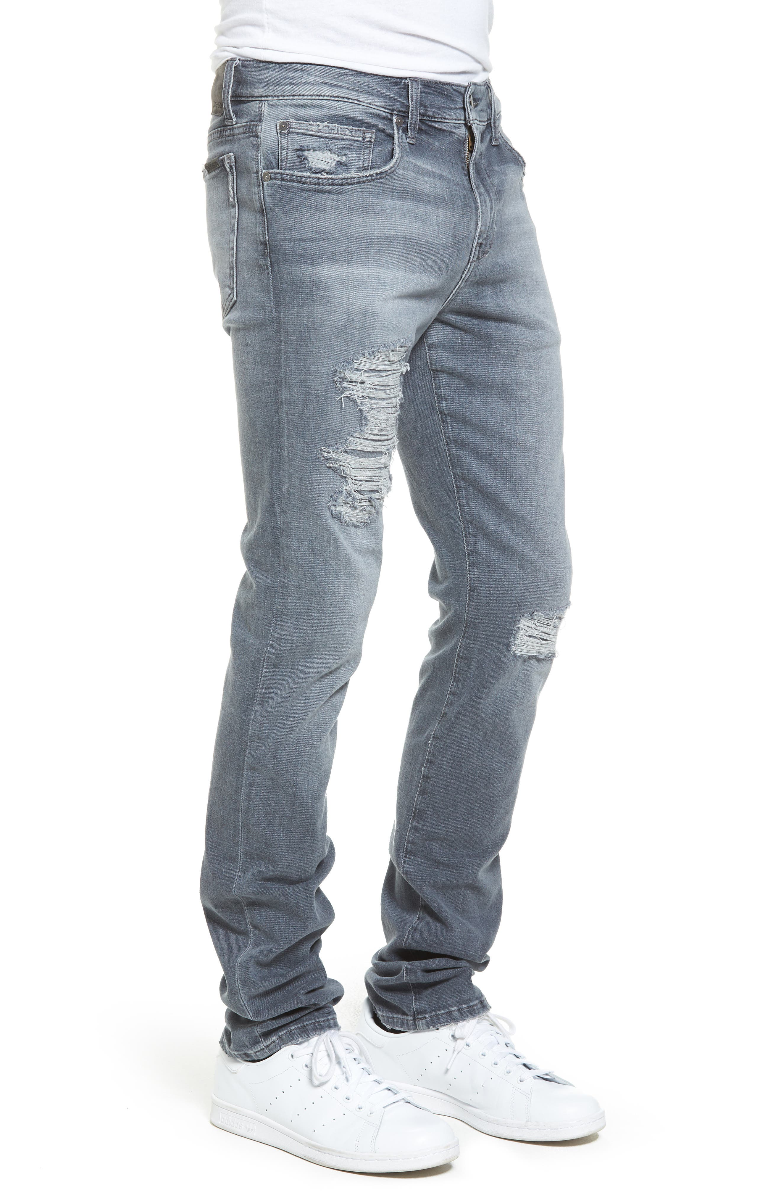 Brixton Distressed Slim Straight Fit Jeans,                             Alternate thumbnail 3, color,                             051
