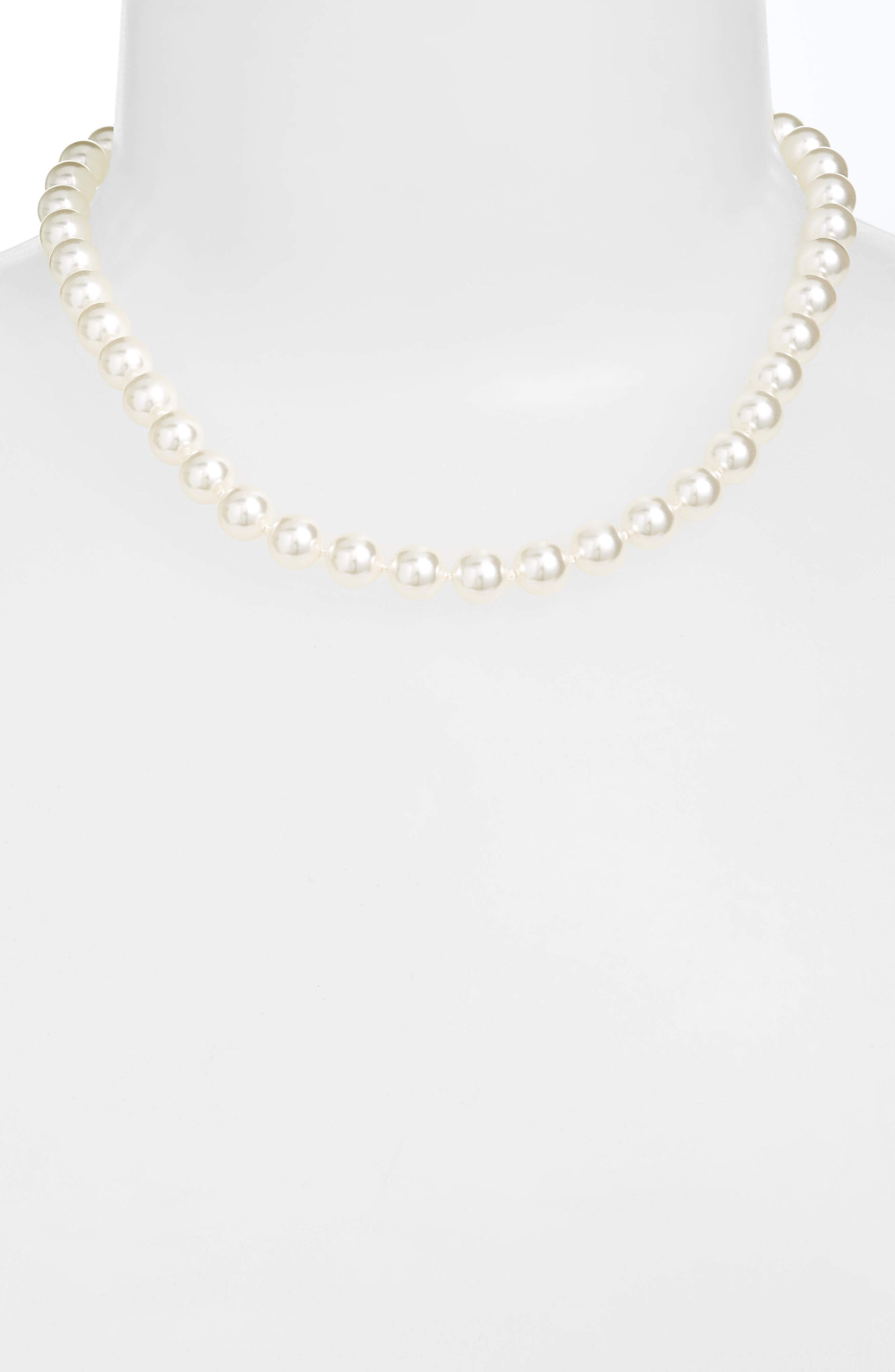 16-Inch Glass Pearl Strand Necklace,                             Alternate thumbnail 2, color,                             100
