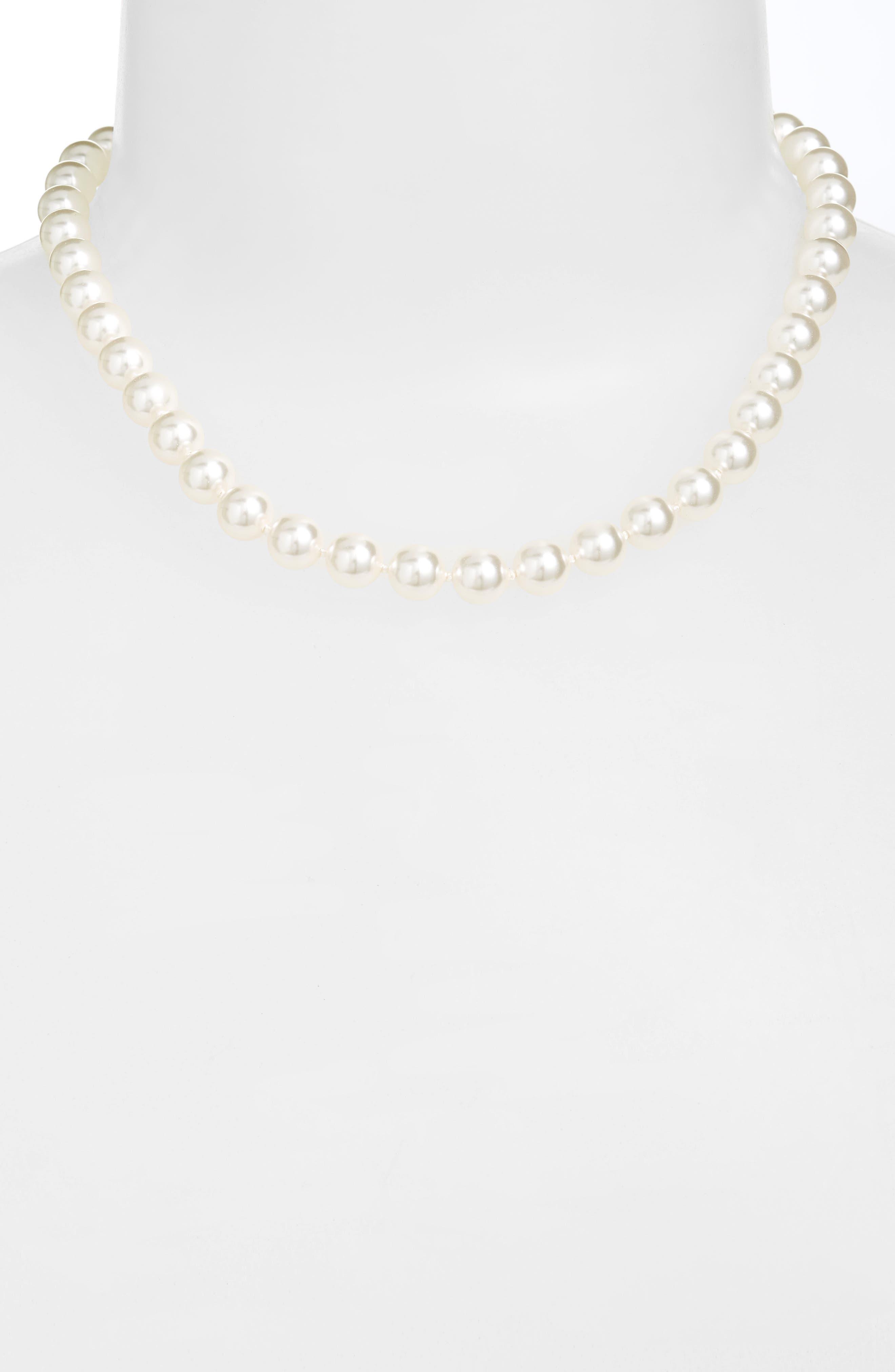 NADRI 16-Inch Glass Pearl Strand Necklace, Main, color, 100