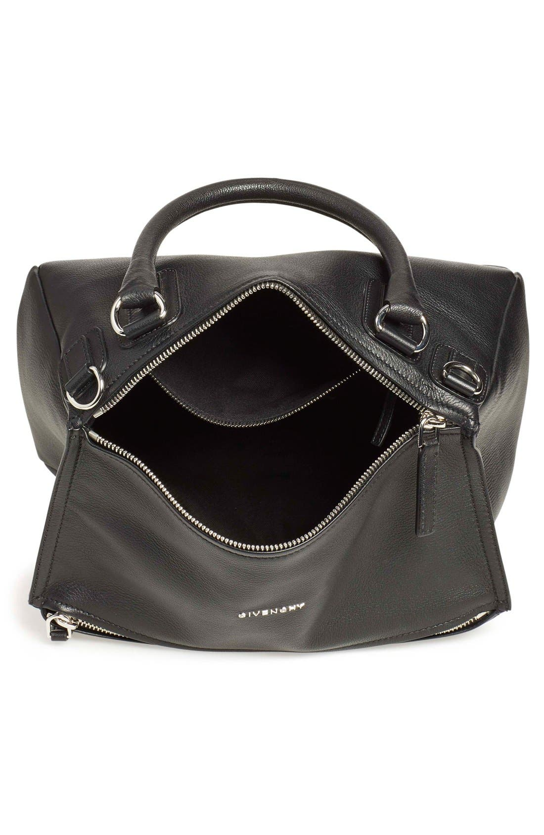 'Medium Pandora' Sugar Leather Satchel,                             Alternate thumbnail 4, color,                             BLACK