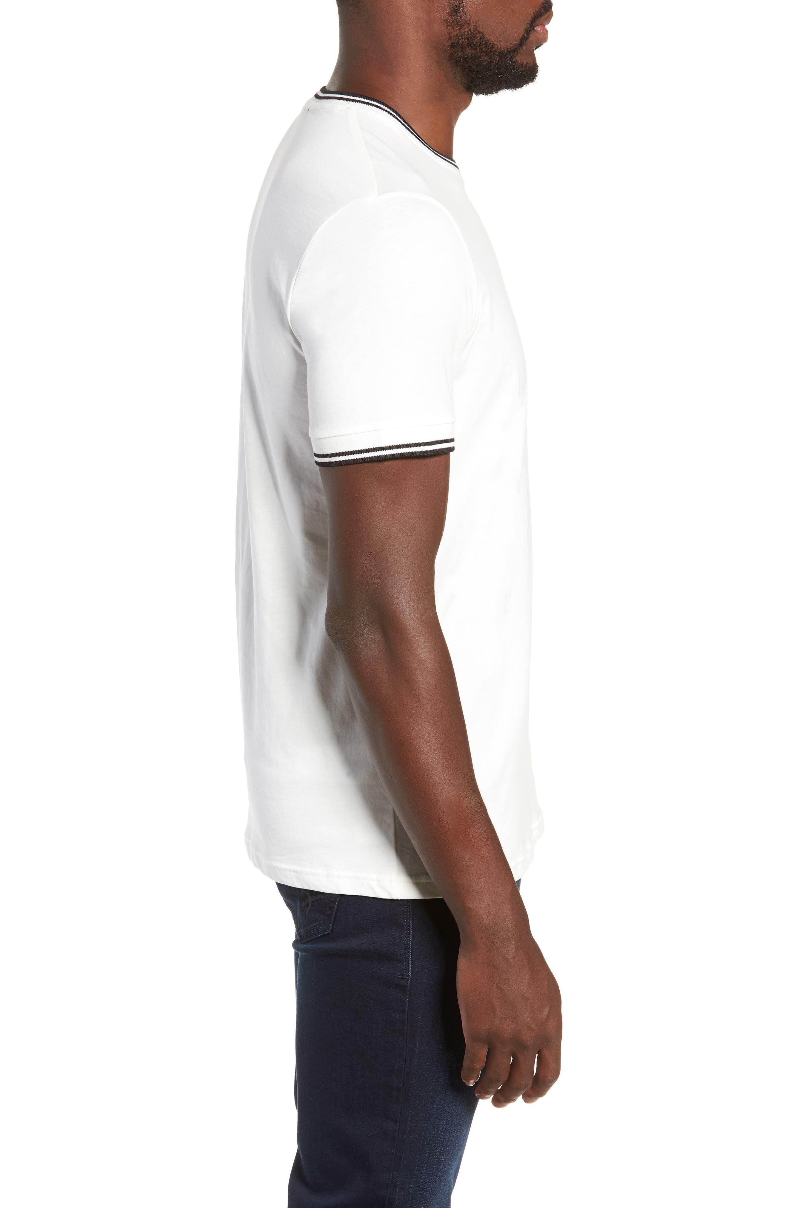 Contrast Trim T-Shirt,                             Alternate thumbnail 3, color,                             SNOW WHITE