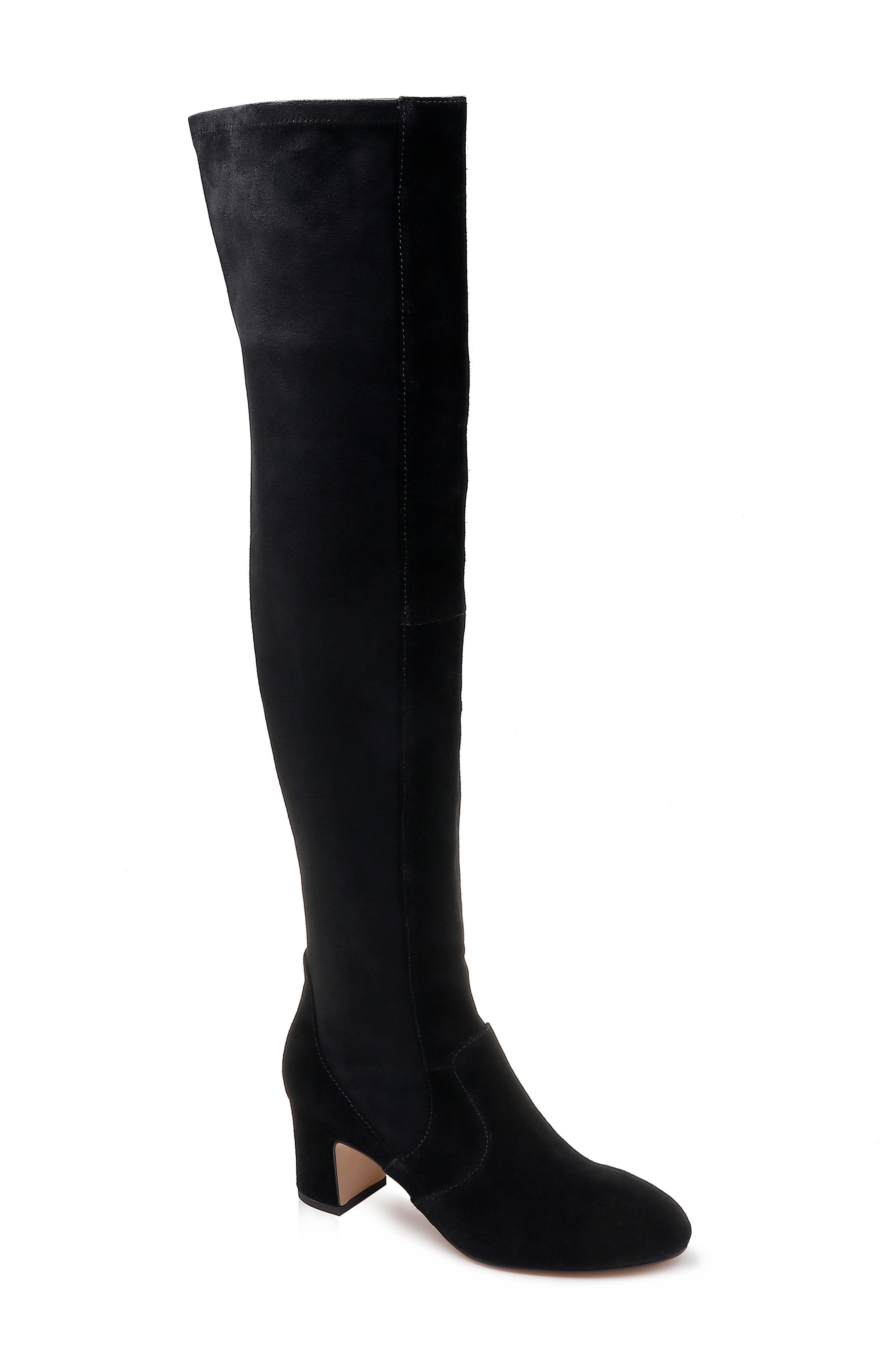 Over the Knee Stretch Back Boot,                             Main thumbnail 1, color,                             BLACK SUEDE