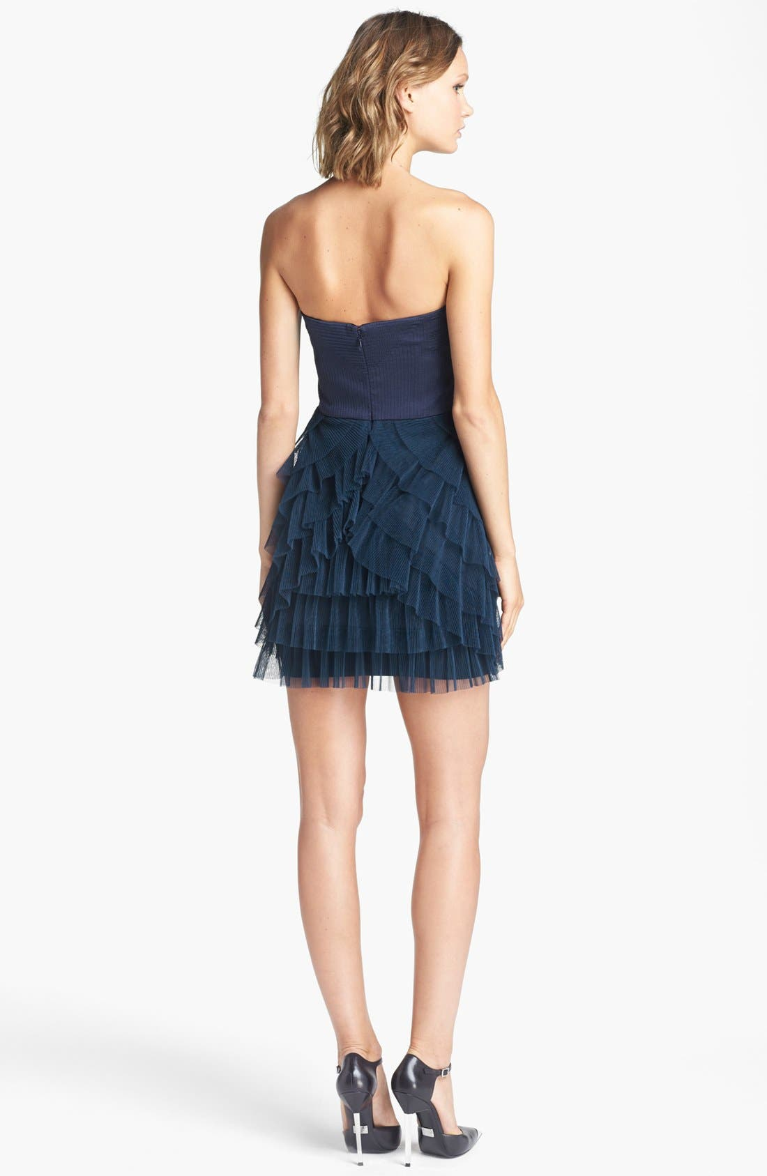 BCBGMAXAZRIA,                             Tiered Mixed Media Fit & Flare Dress,                             Alternate thumbnail 3, color,                             405