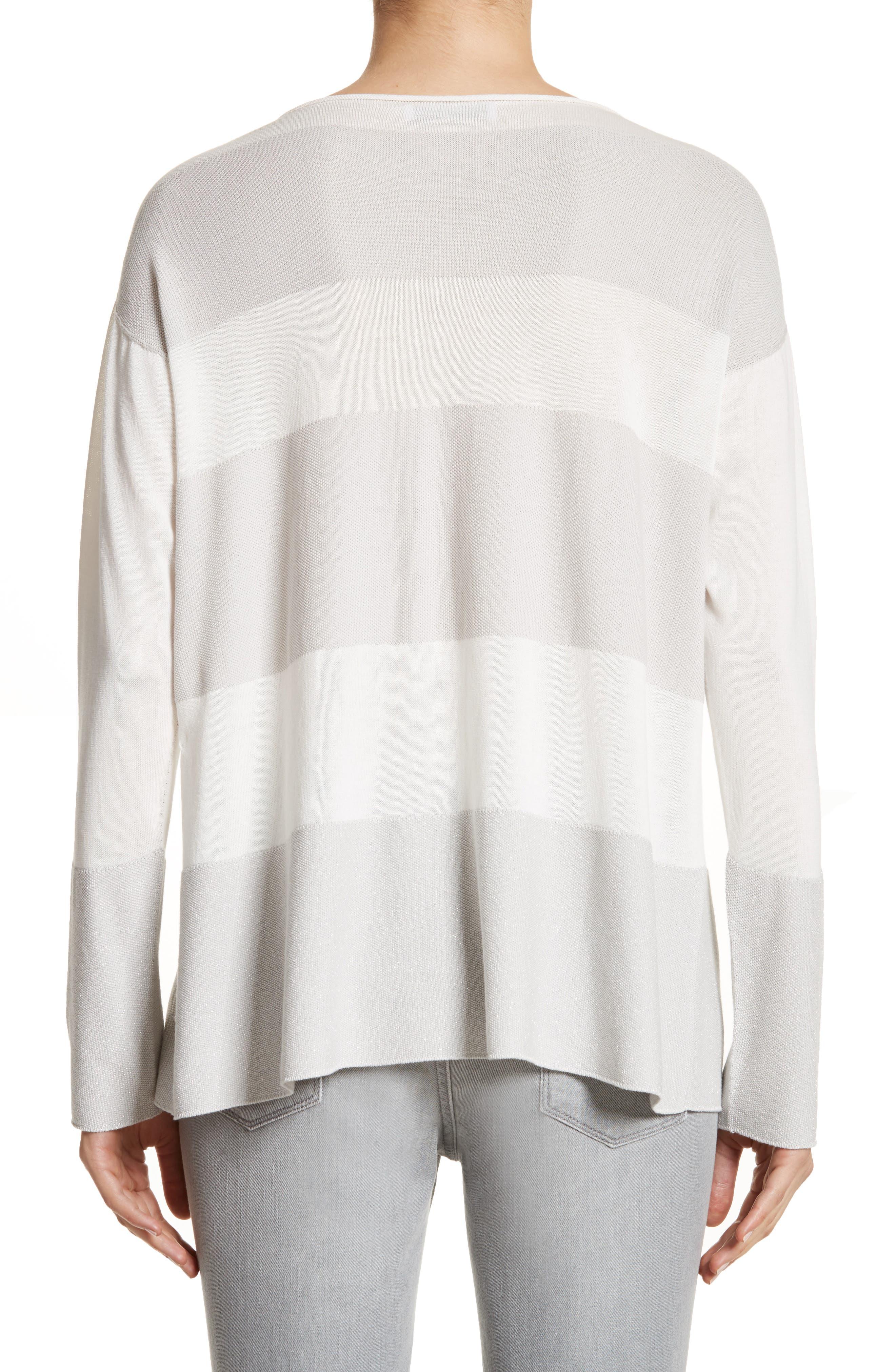 Popcorn Stripe Metallic Knit Sweater,                             Alternate thumbnail 2, color,                             020