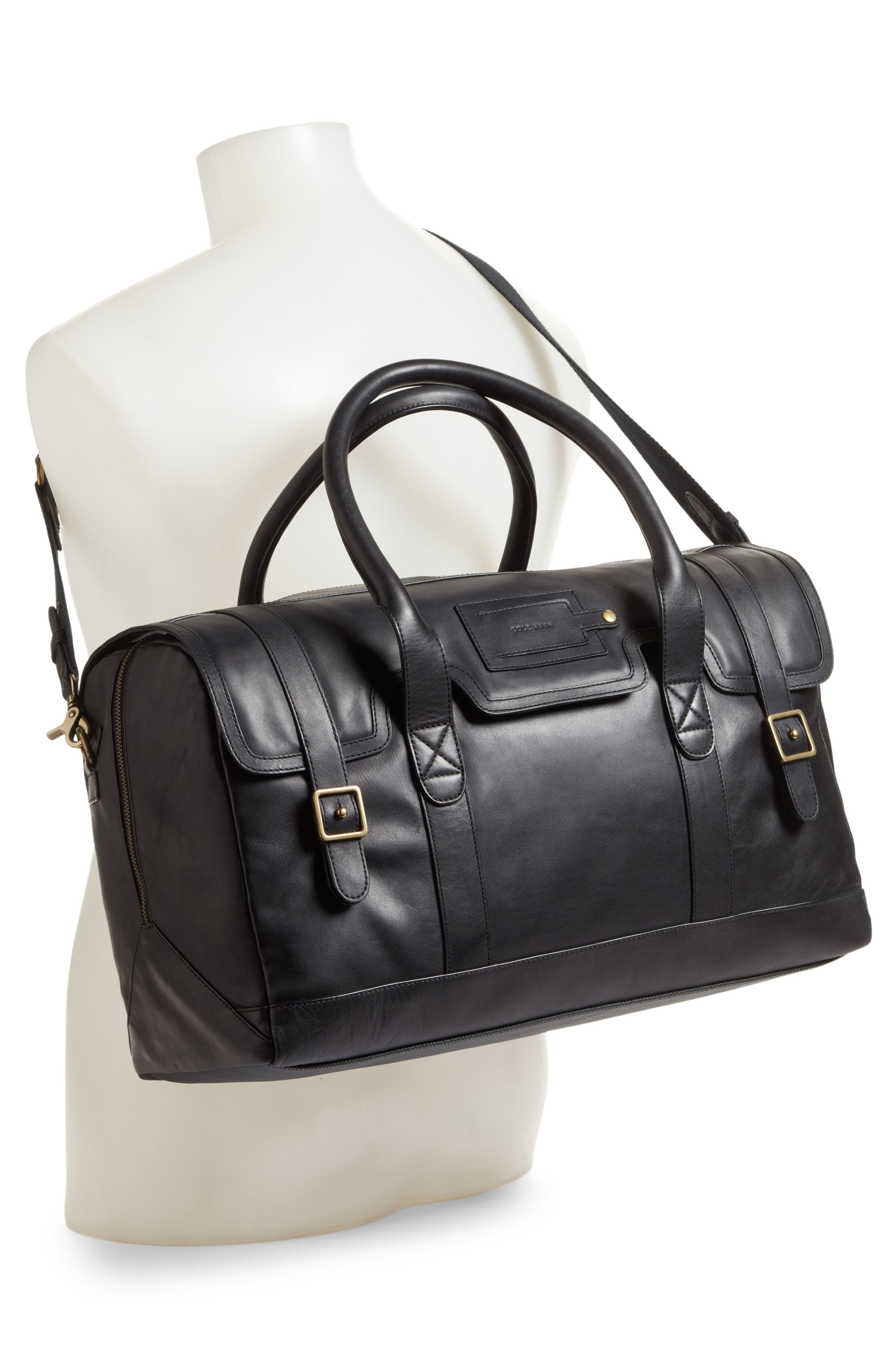 Leather Duffel Bag,                             Alternate thumbnail 3, color,