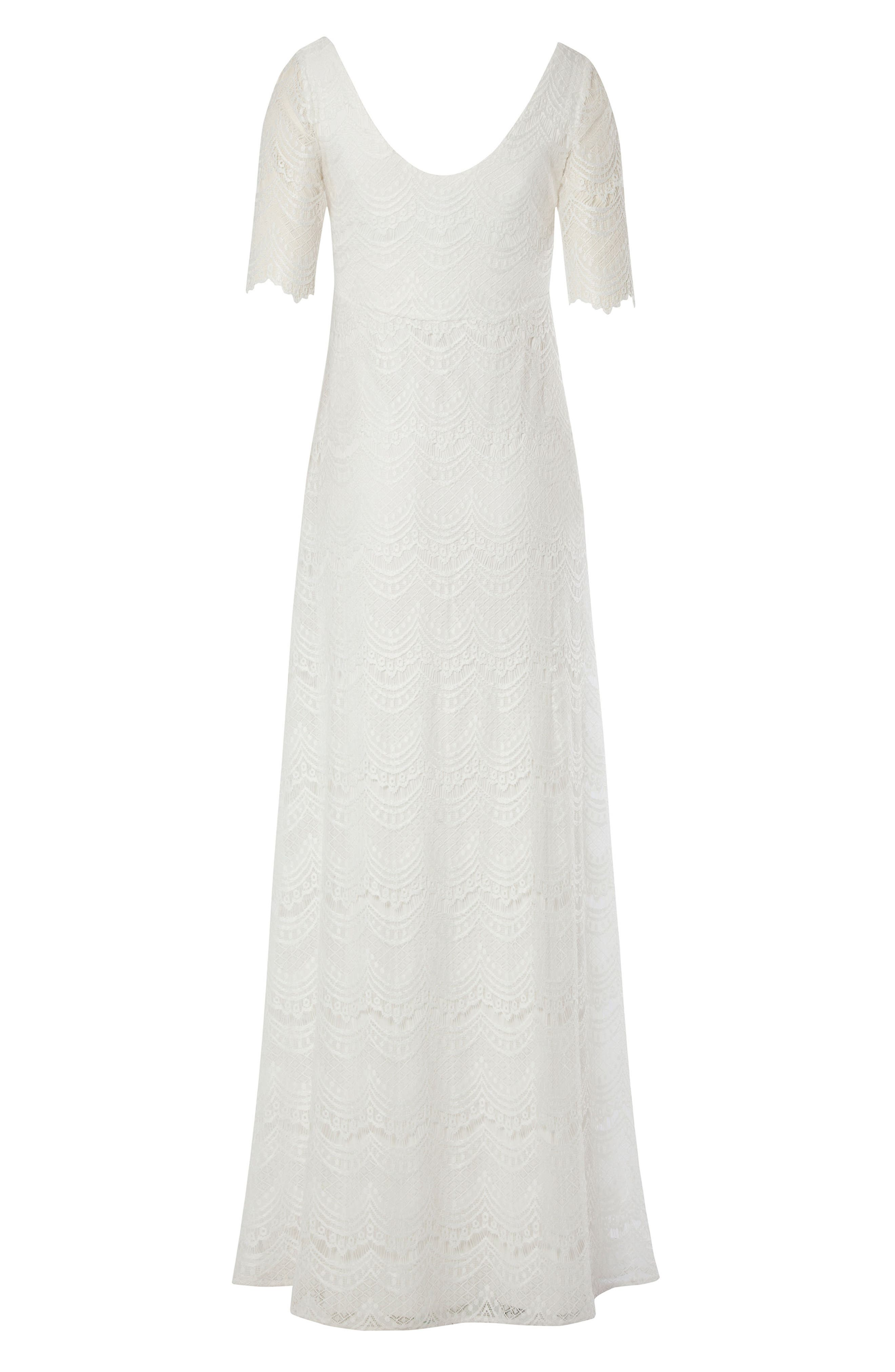 Verona Maternity Gown,                             Alternate thumbnail 3, color,                             BRIGHT IVORY