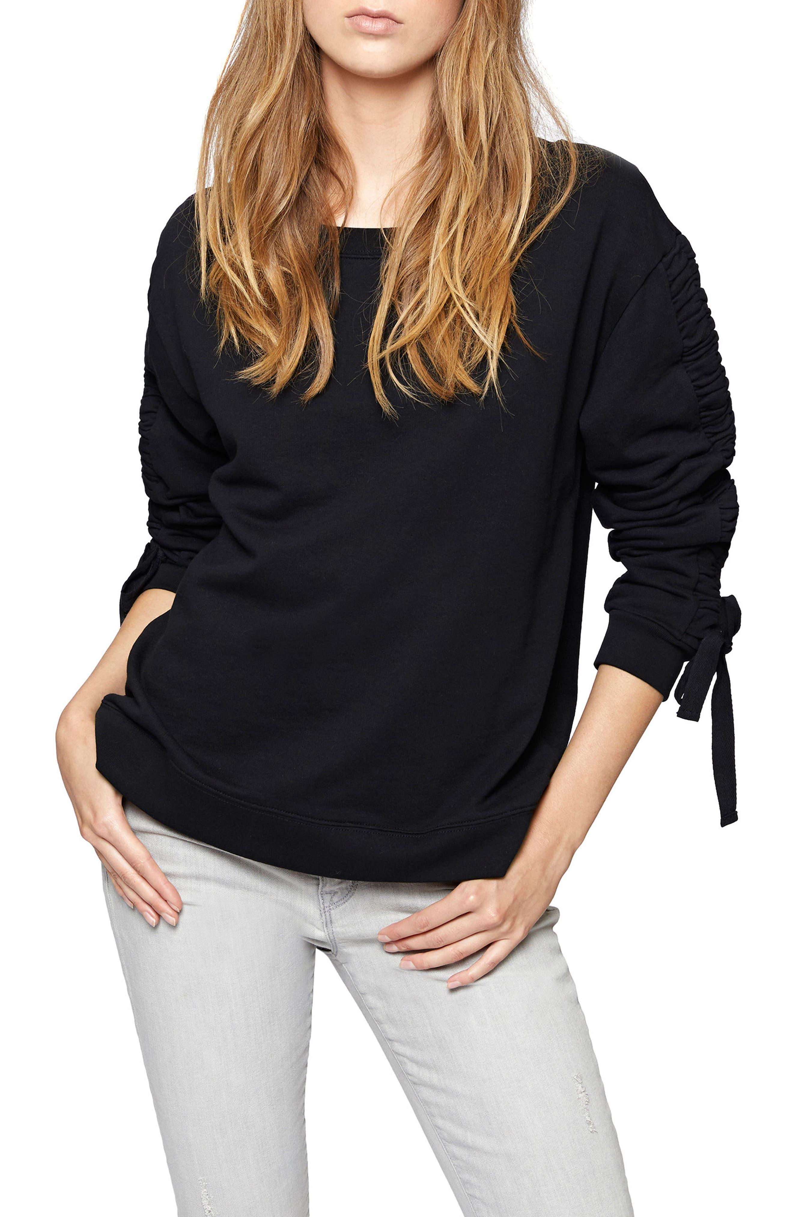 Camden Ruched Sweatshirt,                         Main,                         color, 001