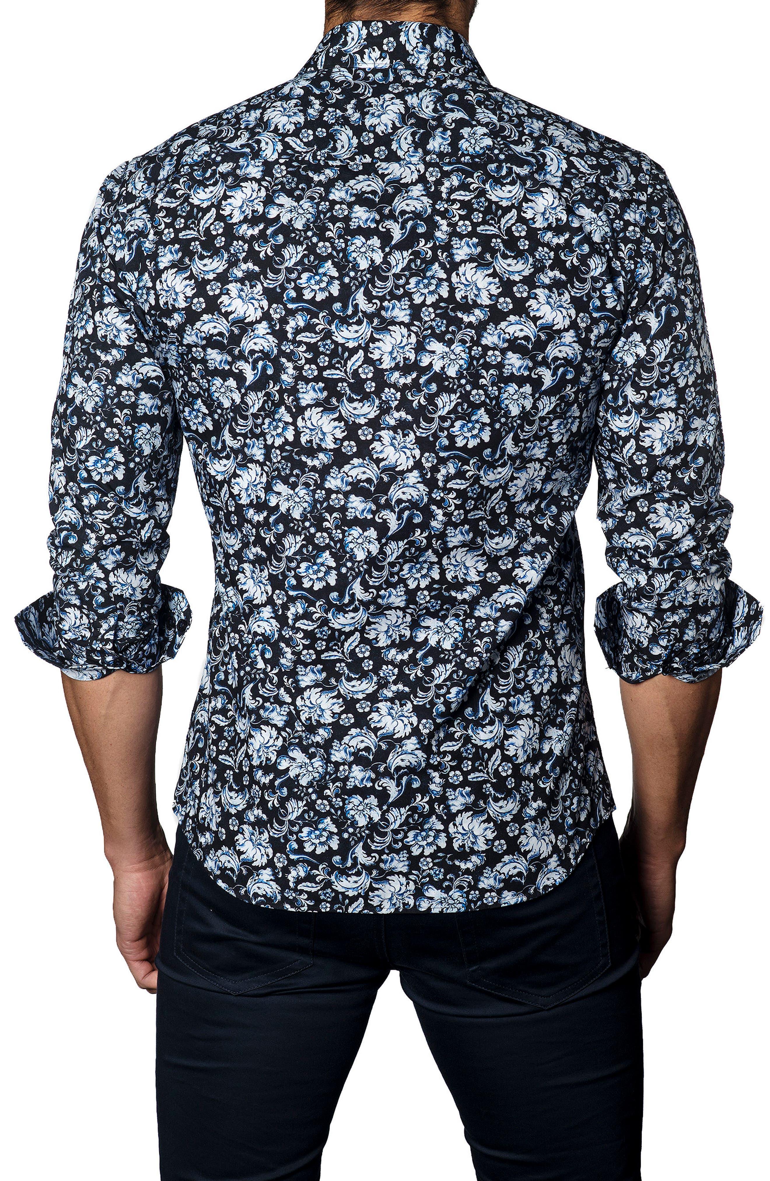 Trim Fit Damask Floral Sport Shirt,                             Alternate thumbnail 2, color,                             400