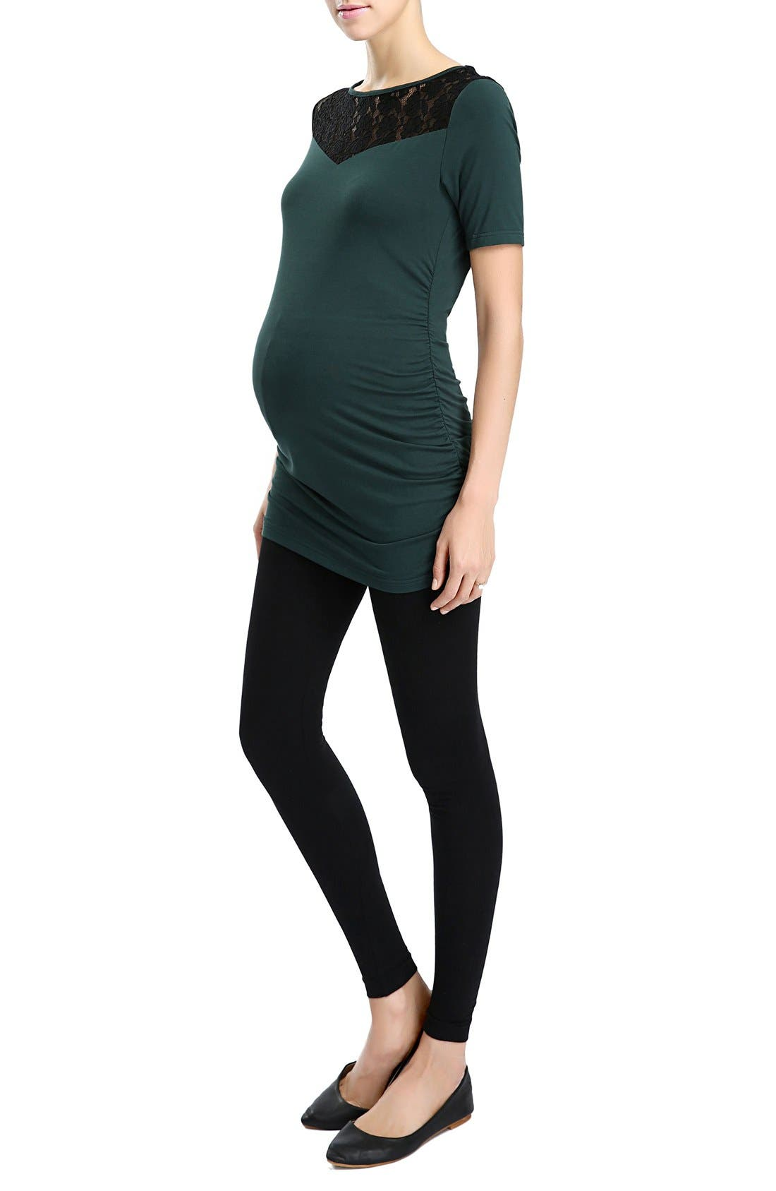 'Alden' Floral Lace Jersey Maternity Top,                             Alternate thumbnail 2, color,                             440