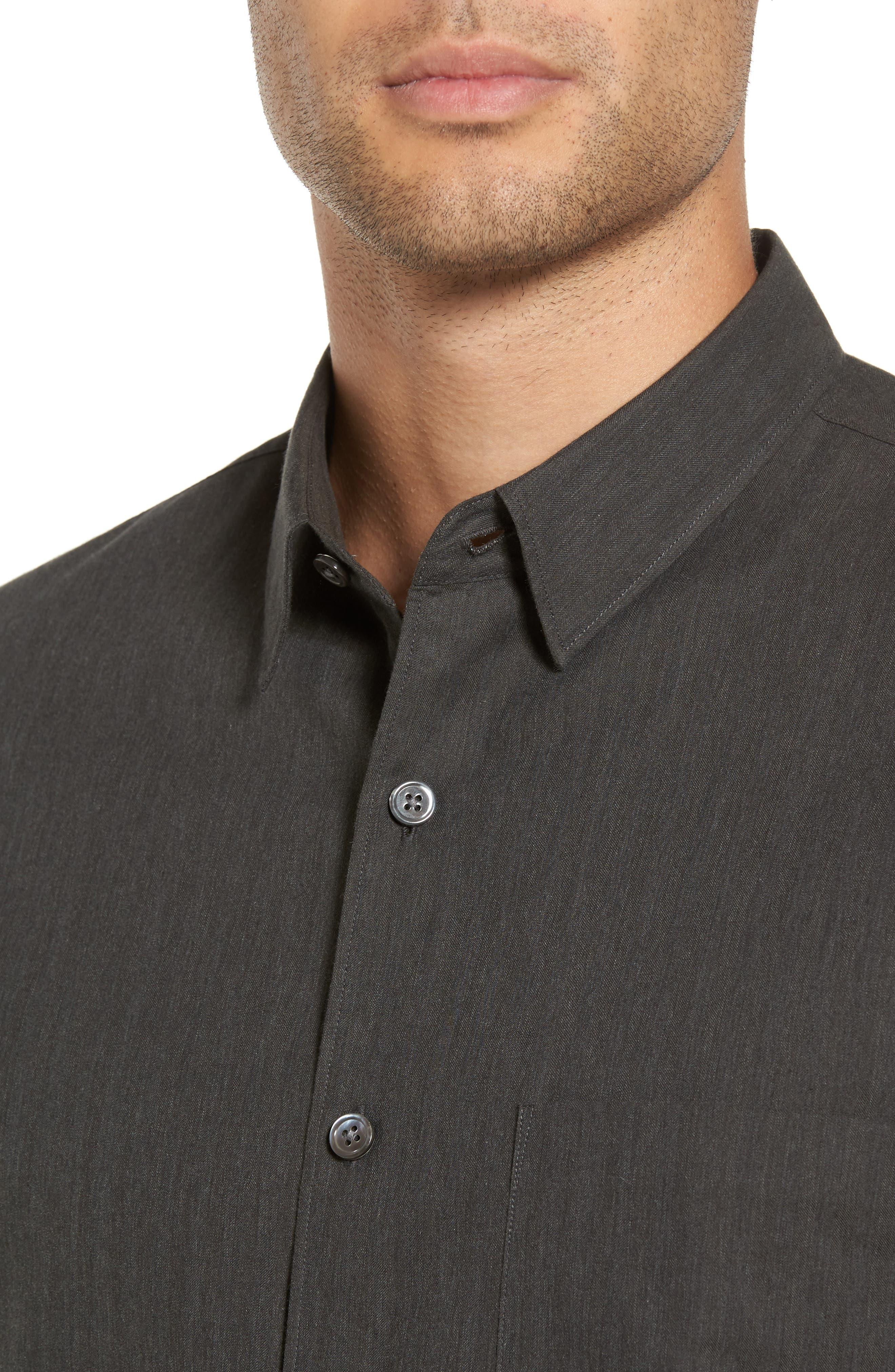 Rammy Trim Fit Solid Sport Shirt,                             Alternate thumbnail 4, color,                             381