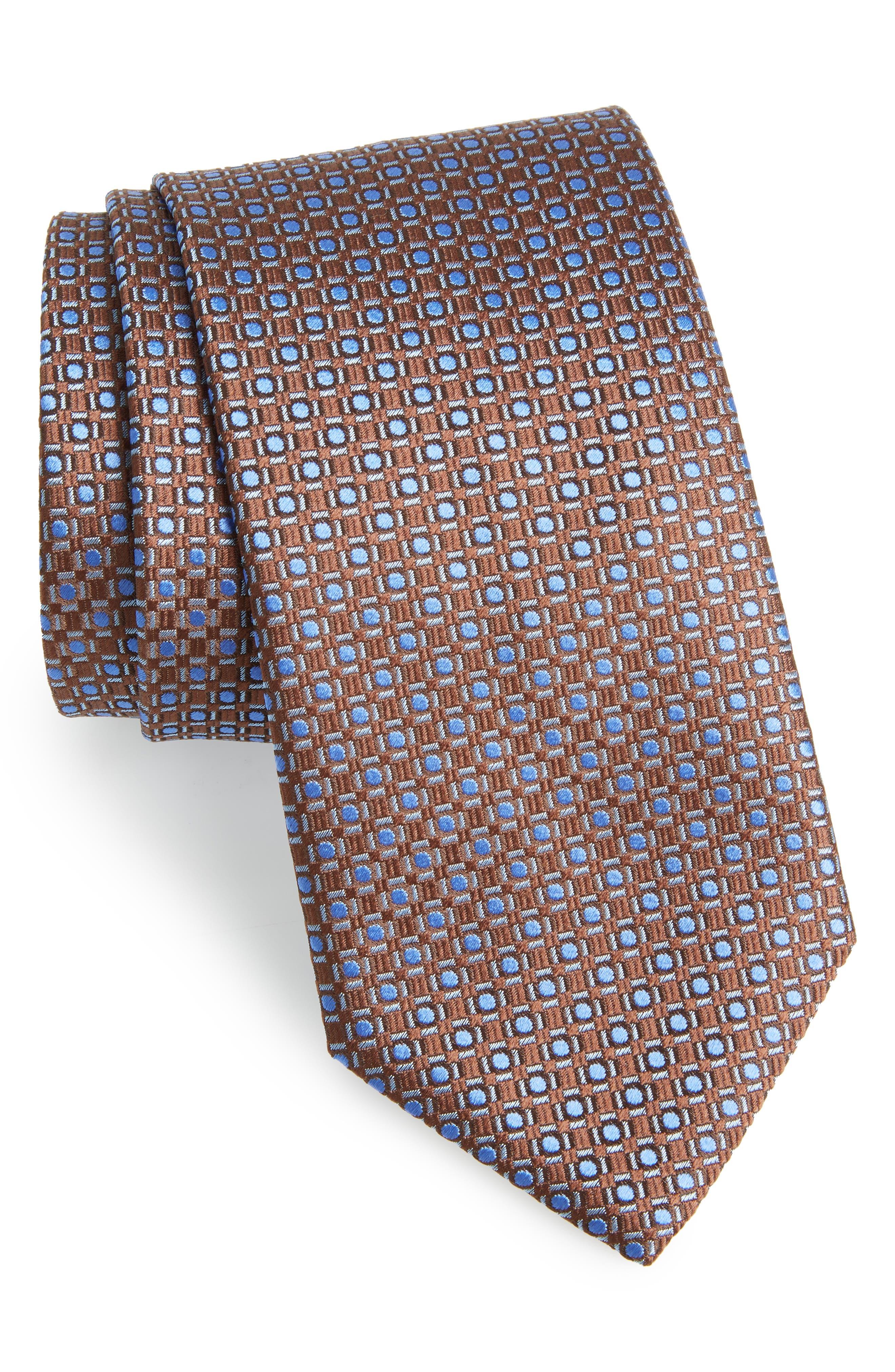 Geometric Silk Tie,                             Main thumbnail 1, color,                             BROWN