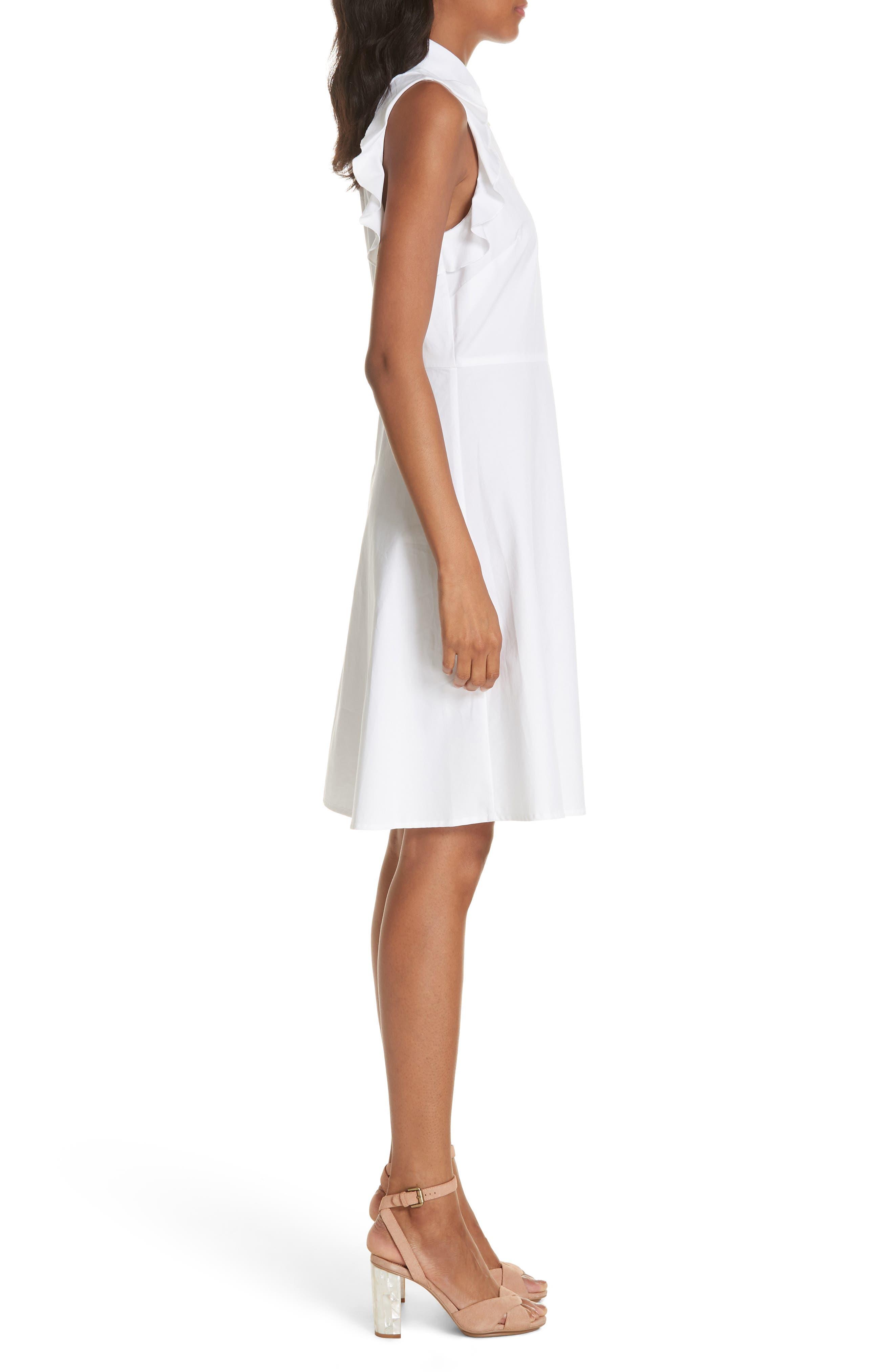 ruffle cotton poplin dress,                             Alternate thumbnail 3, color,                             107