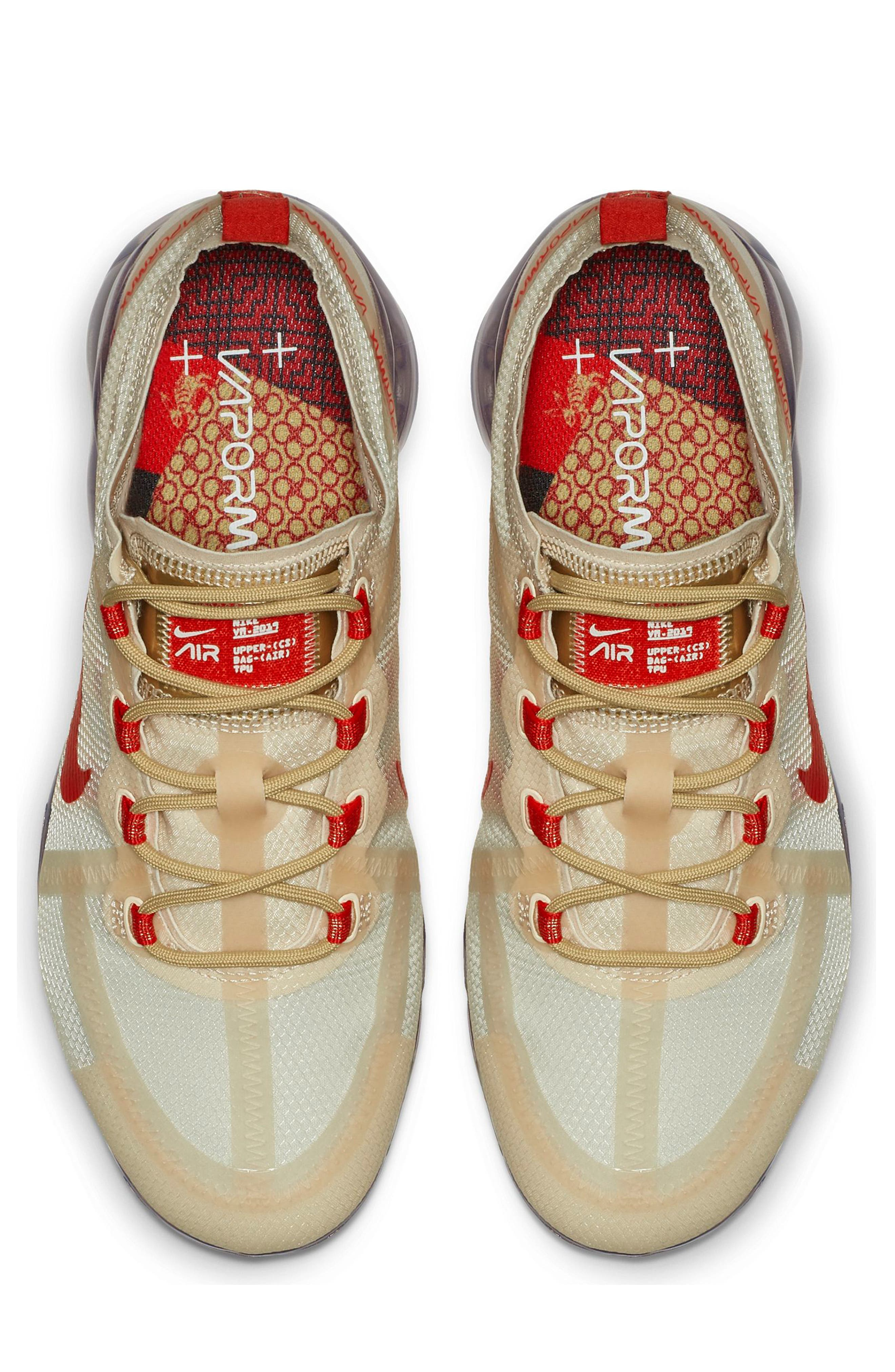Air VaporMax 2019 Chinese New Year Running Shoe,                             Alternate thumbnail 4, color,                             CREAM/ HABANERO RED/ CLUB GOLD