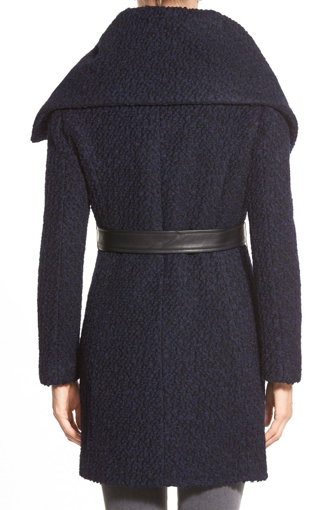 Belted Asymmetrical Bouclé Wool Blend Coat,                             Alternate thumbnail 2, color,                             004