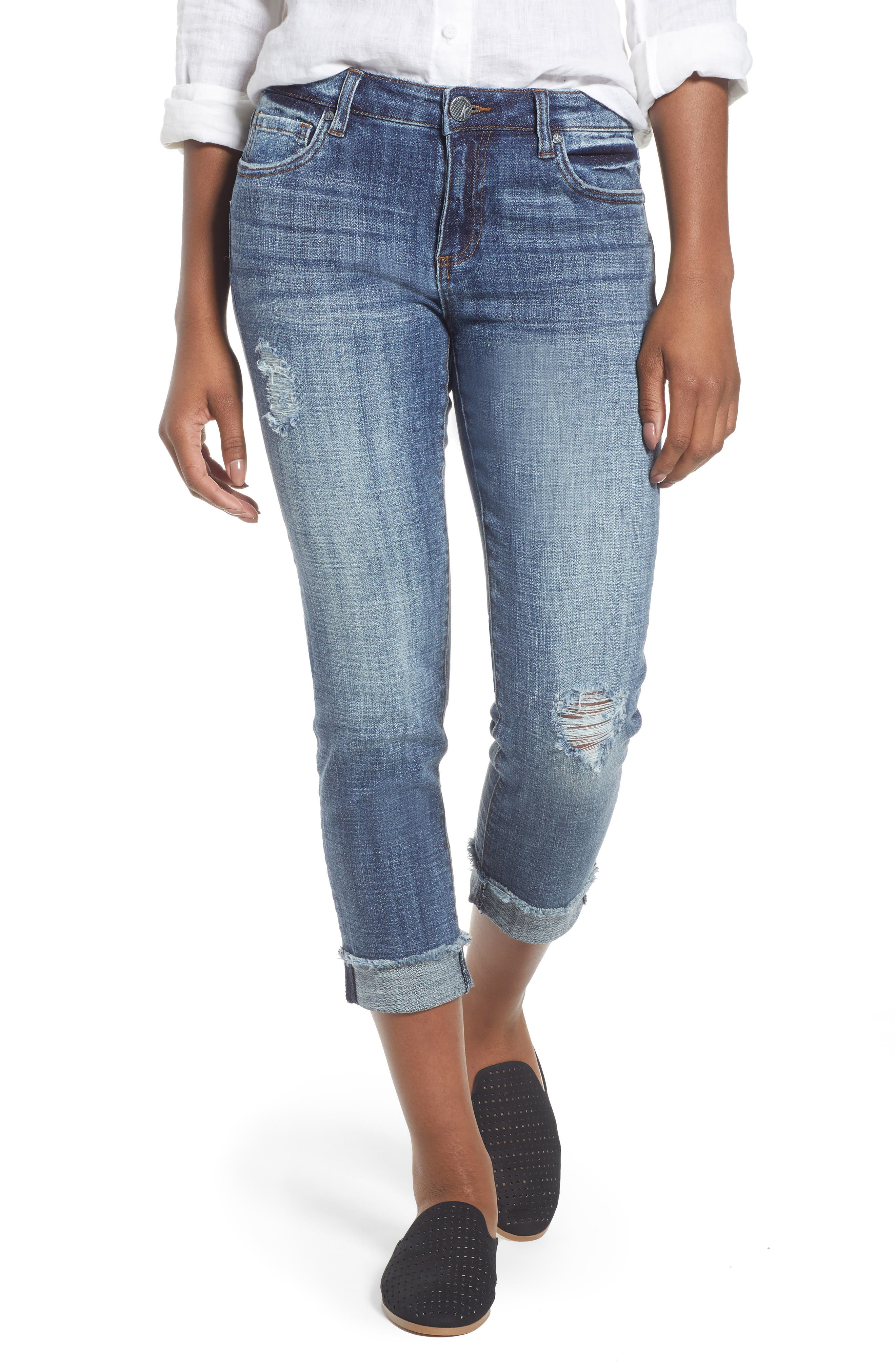 KUT FROM THE KLOTH Amy Distressed Crop Jeans, Main, color, 400