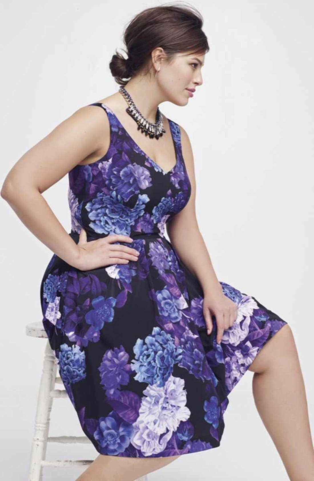 Hydrangea Print Dress,                             Alternate thumbnail 3, color,                             BLACK