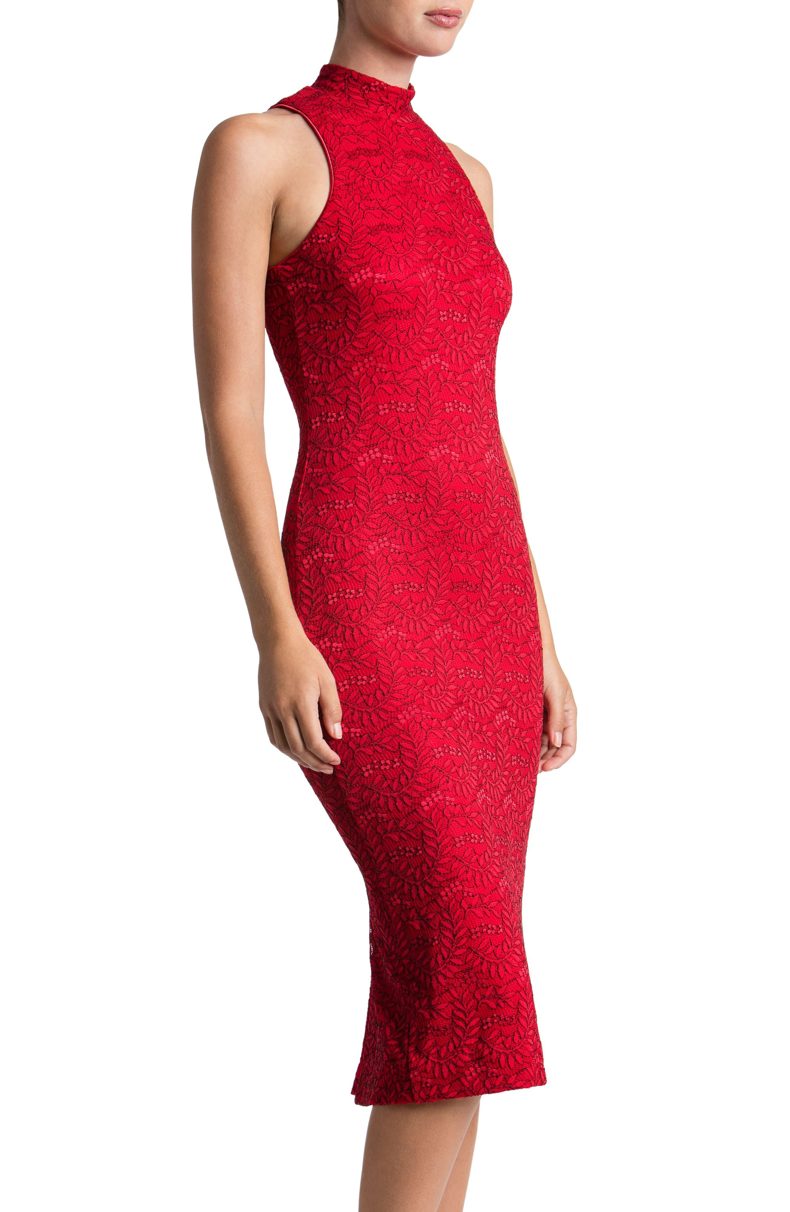 Norah Lace Midi Dress,                             Alternate thumbnail 3, color,                             622