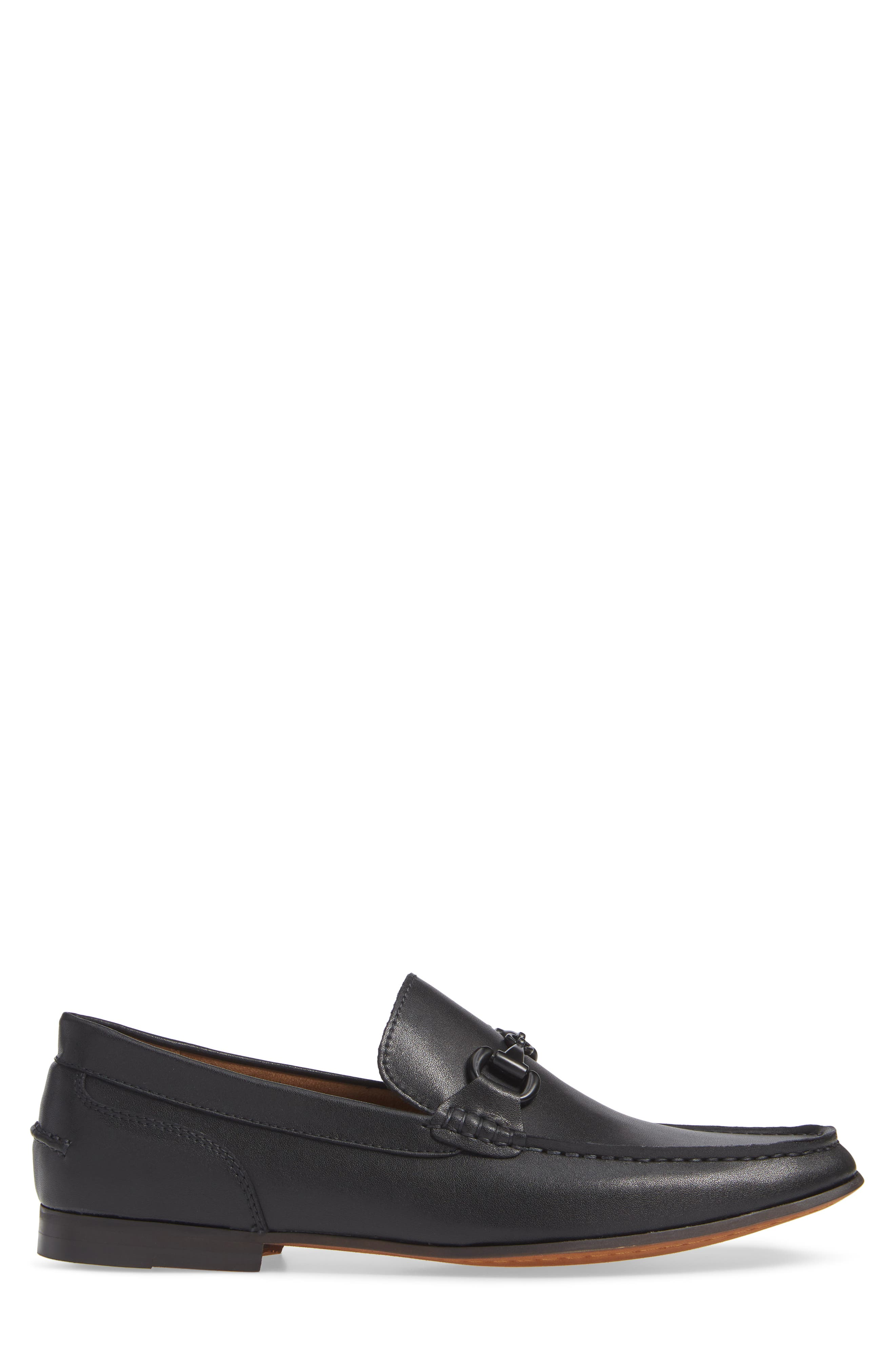 Crespo Loafer,                             Alternate thumbnail 3, color,                             BLACK SYNTHETIC LEATHER