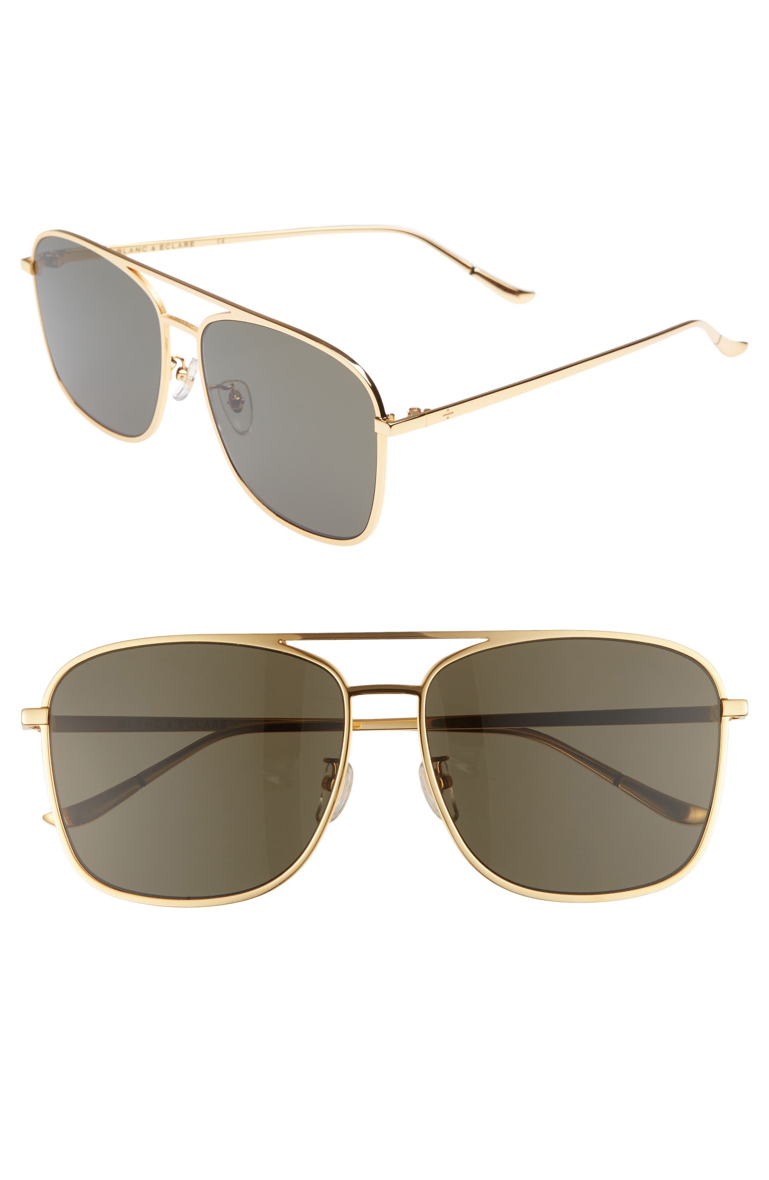 BLANC & ECLARE Geneva Large 60mm Polarized Metal Aviator Sunglasses,                             Main thumbnail 2, color,