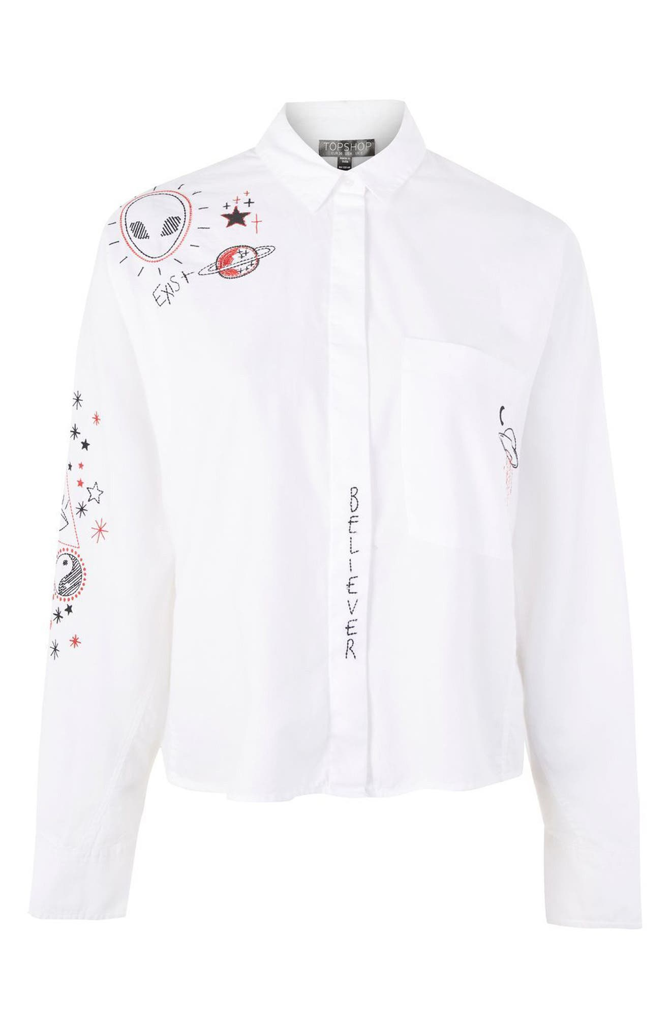 Doodle Believer Embroidered Shirt,                             Alternate thumbnail 4, color,                             900