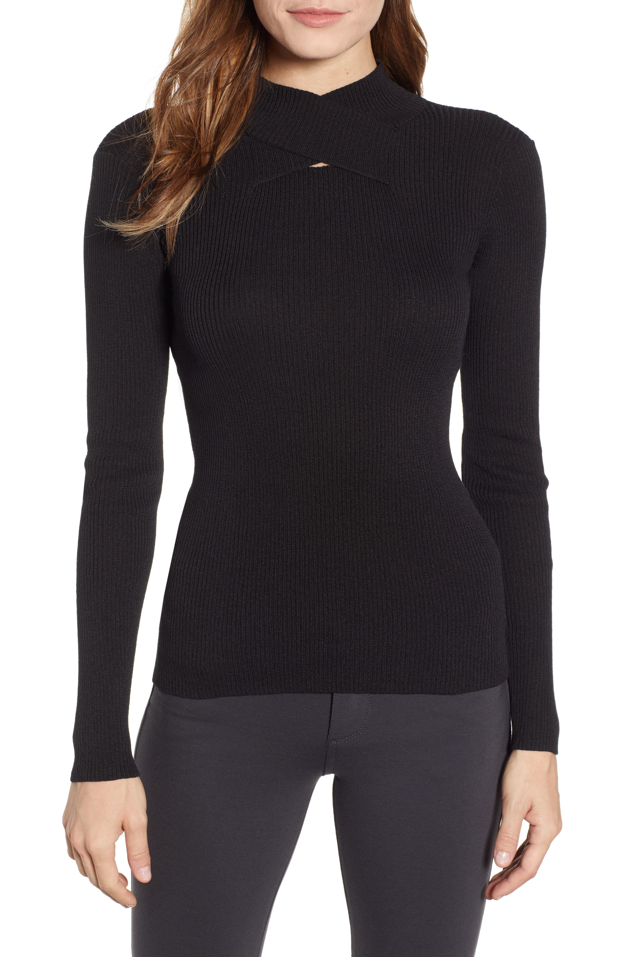 ANNE KLEIN Mock Neck Top in Anne Black
