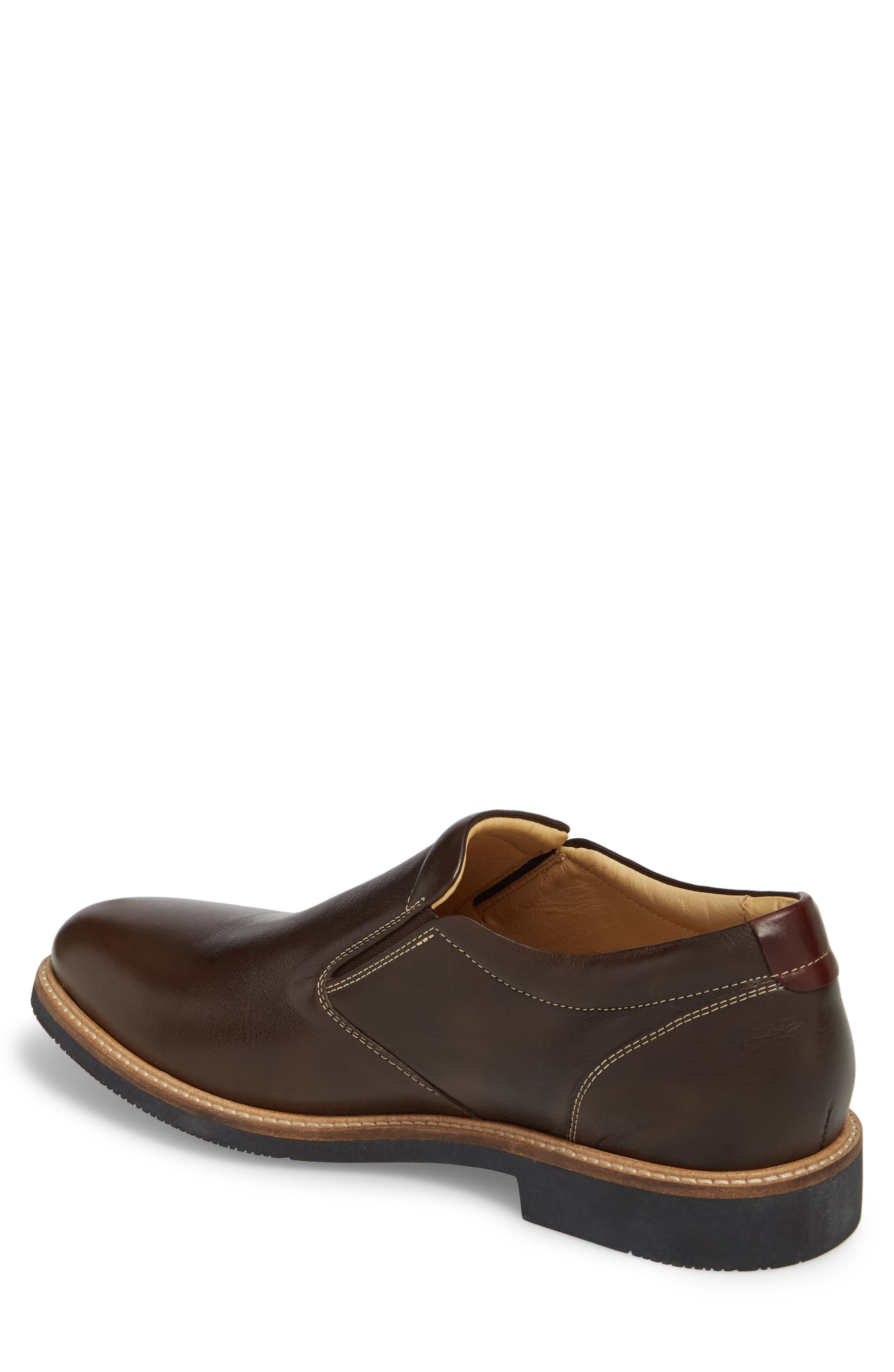 JOHNSTON & MURPHY,                             Barlow Plain Toe Slip-On,                             Alternate thumbnail 2, color,                             DARK BROWN LEATHER