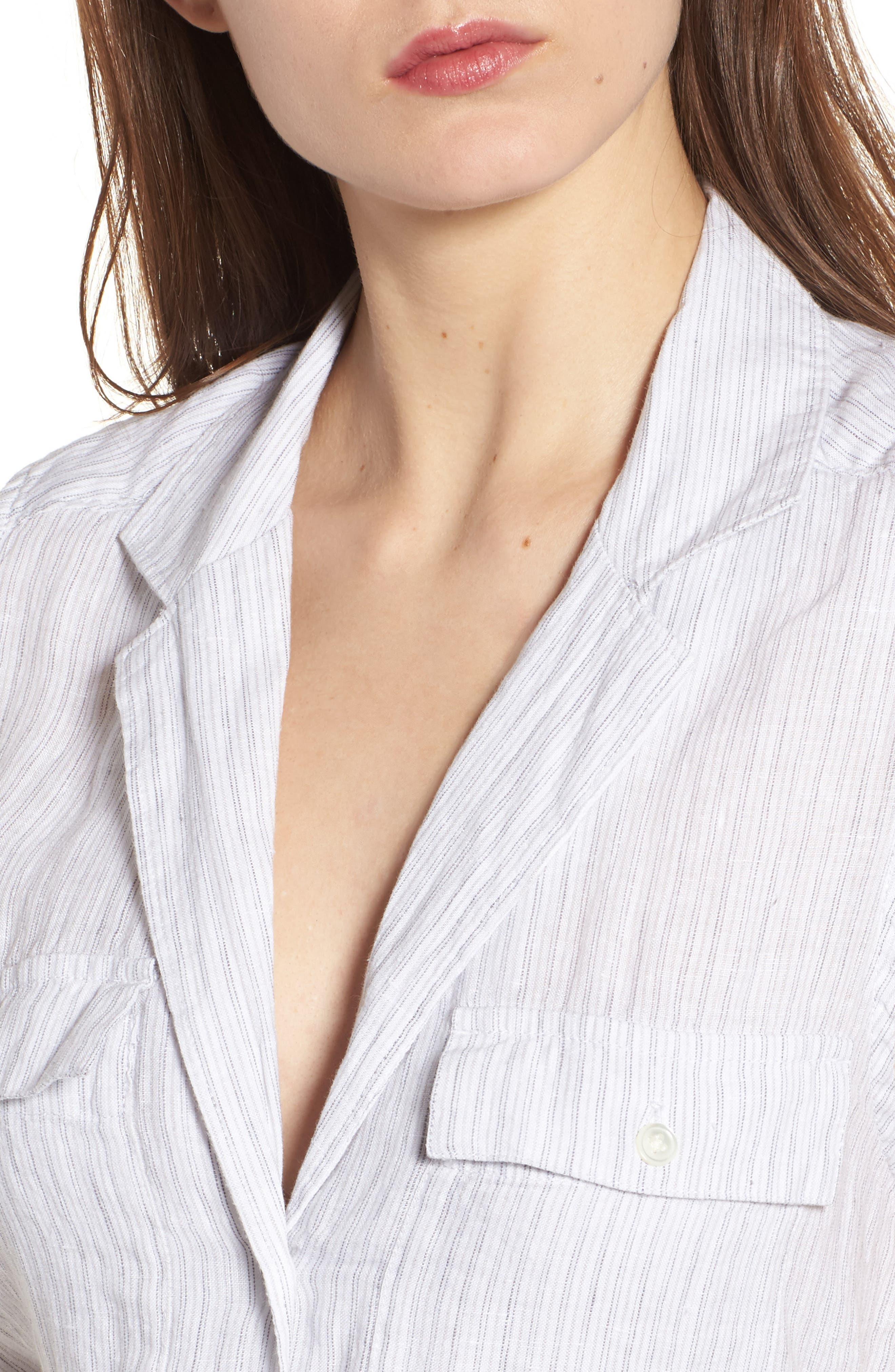 Stripe Linen Shirtdress,                             Alternate thumbnail 4, color,                             053