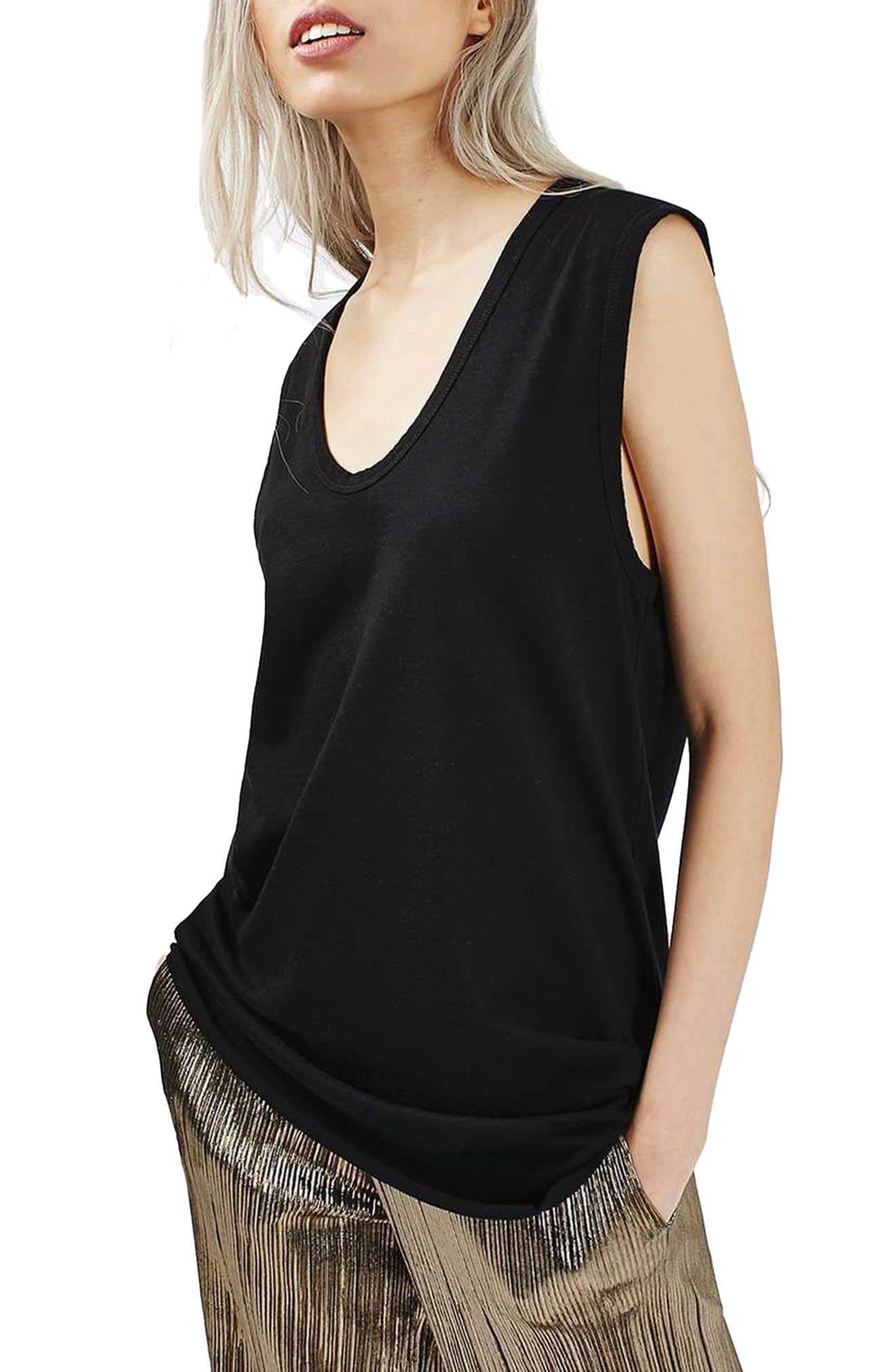 Slouchy U-Neck Tank,                             Alternate thumbnail 2, color,                             001