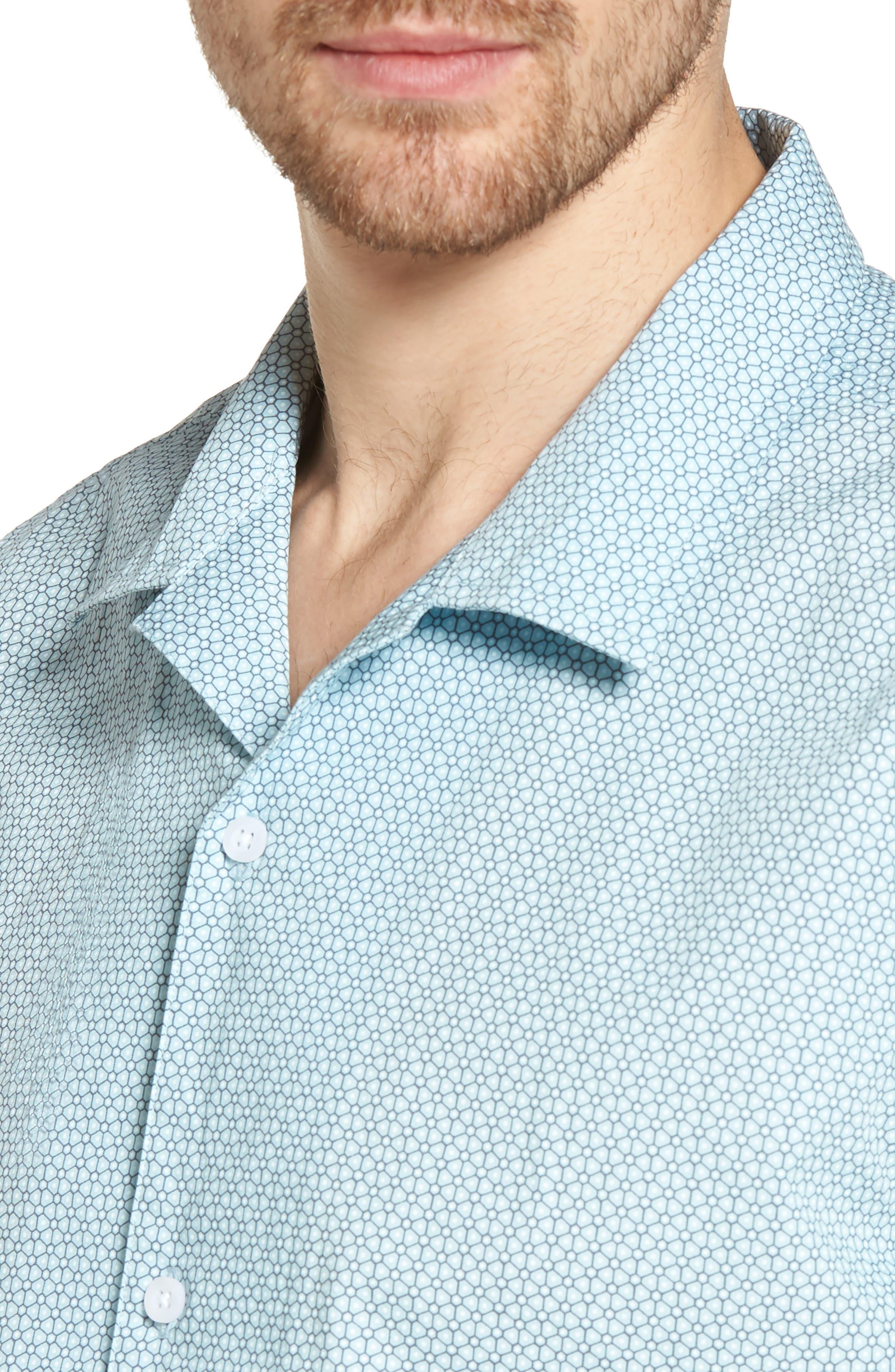 Trim Fit Stretch Geometric Camp Shirt,                             Alternate thumbnail 4, color,                             450