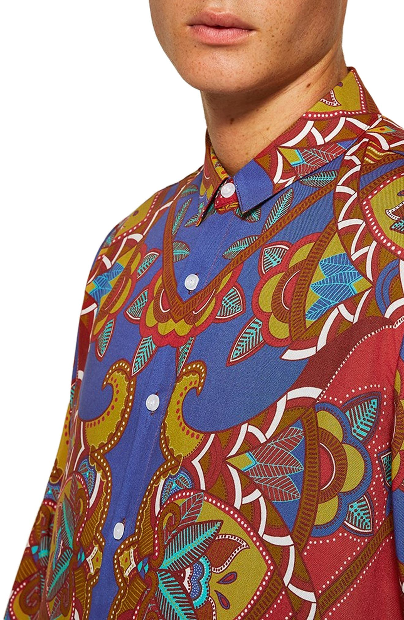 African Baroque Classic Fit Shirt,                             Alternate thumbnail 2, color,                             BLUE MULTI