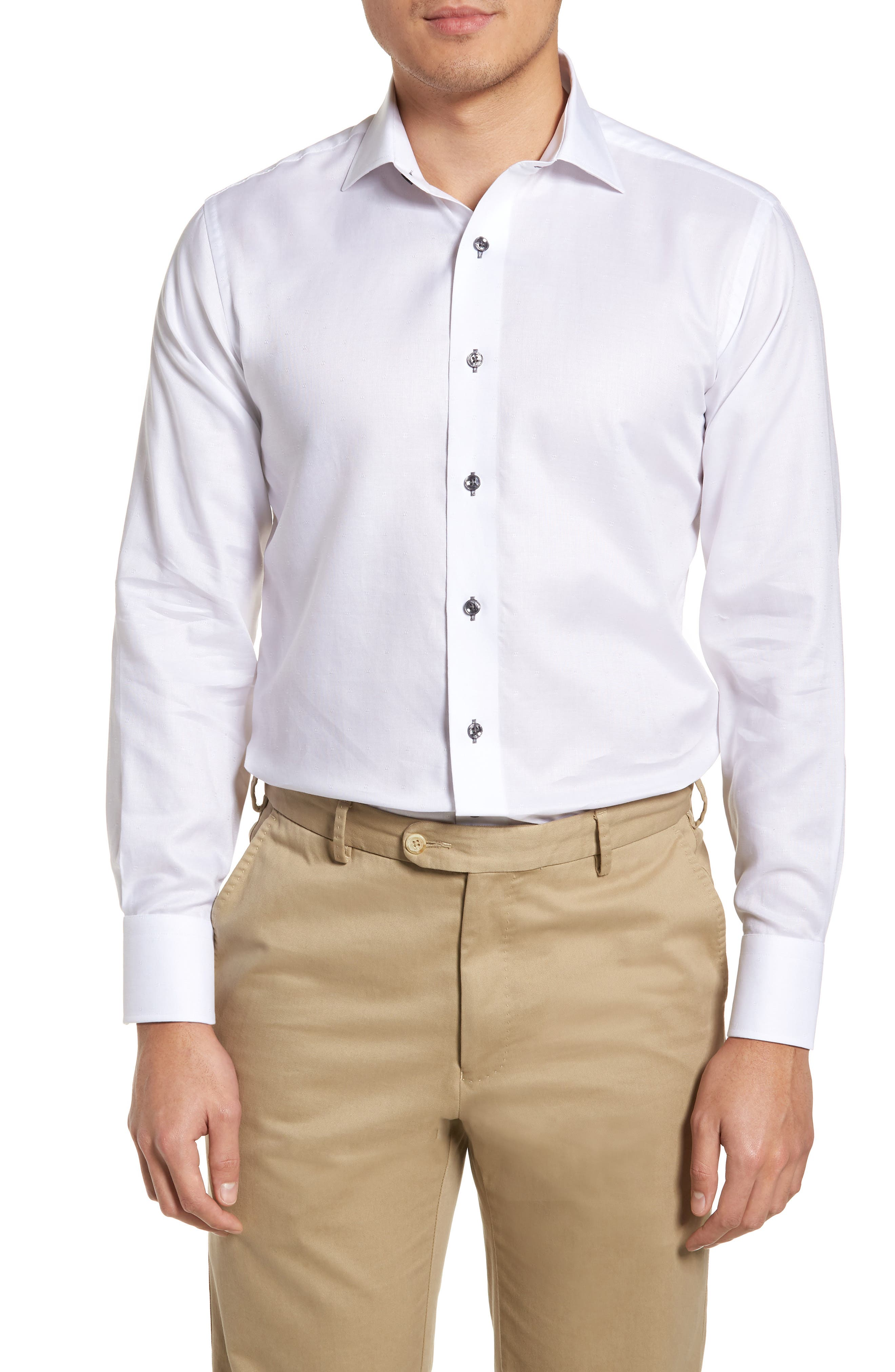 Trim Fit Textured Dress Shirt,                         Main,                         color, WHITE