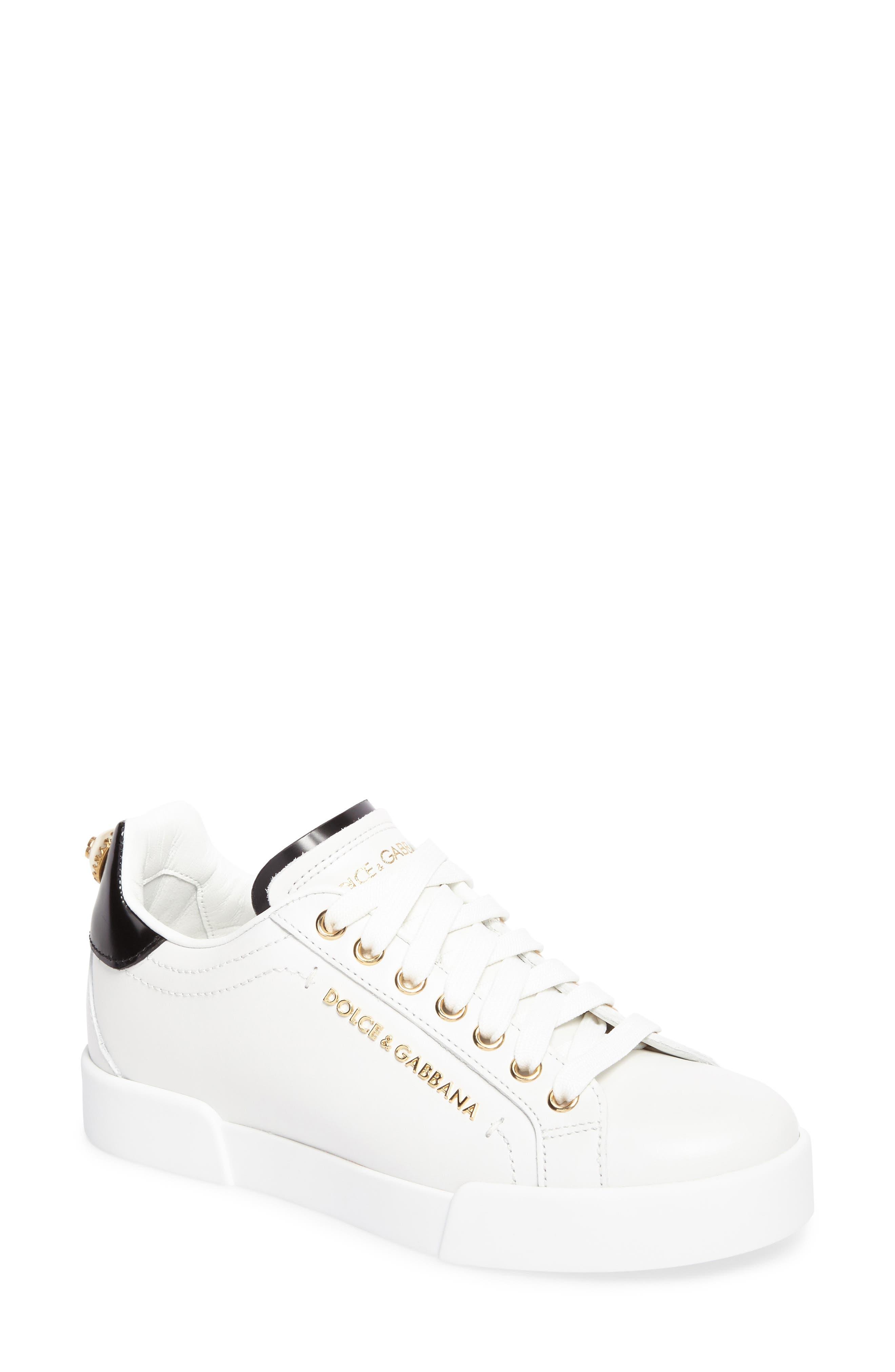 Logo Embellished Sneaker,                         Main,                         color, WHITE/ GOLD