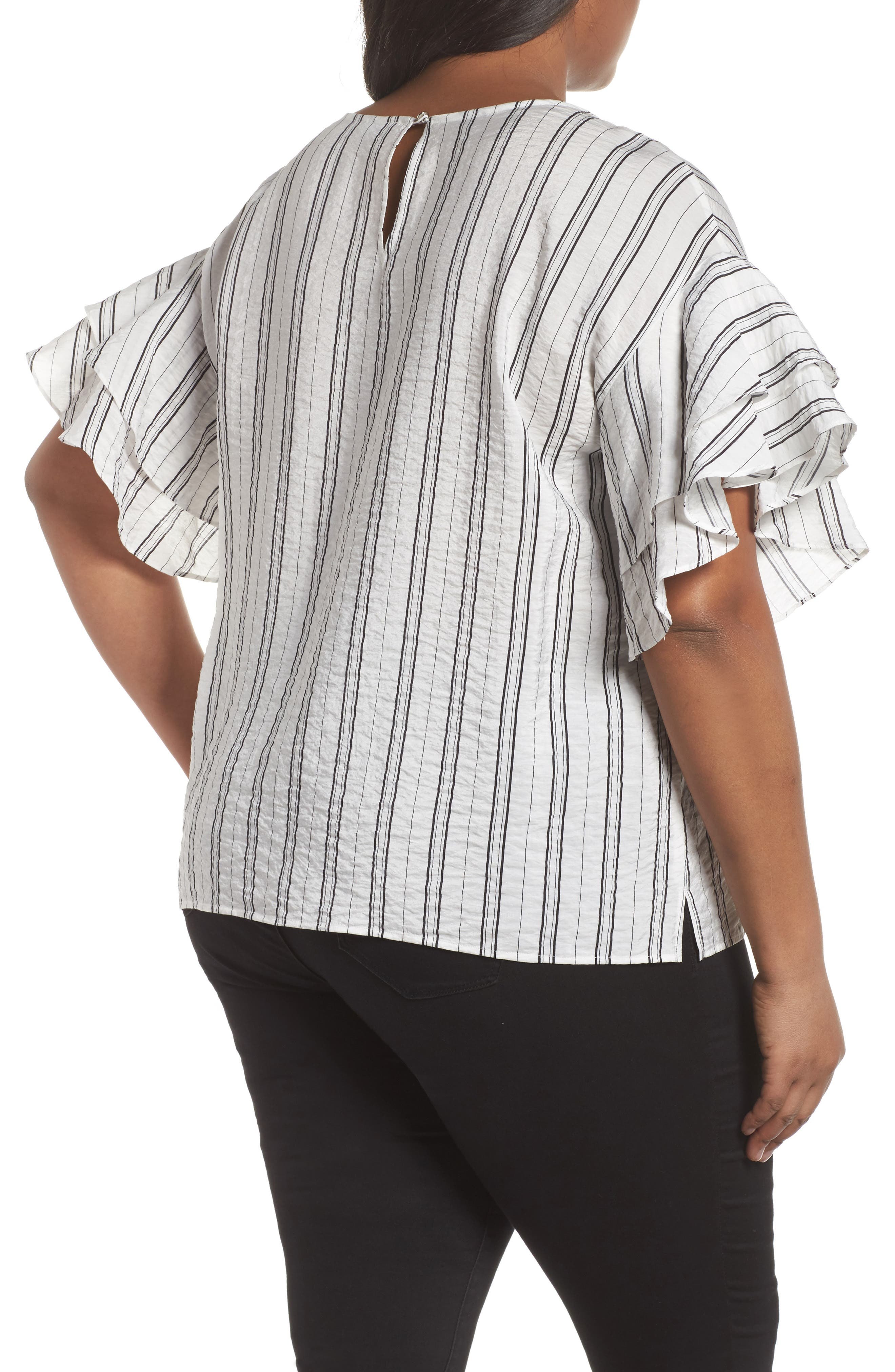 Tiered Ruffle Sleeve Stripe Blouse,                             Alternate thumbnail 2, color,